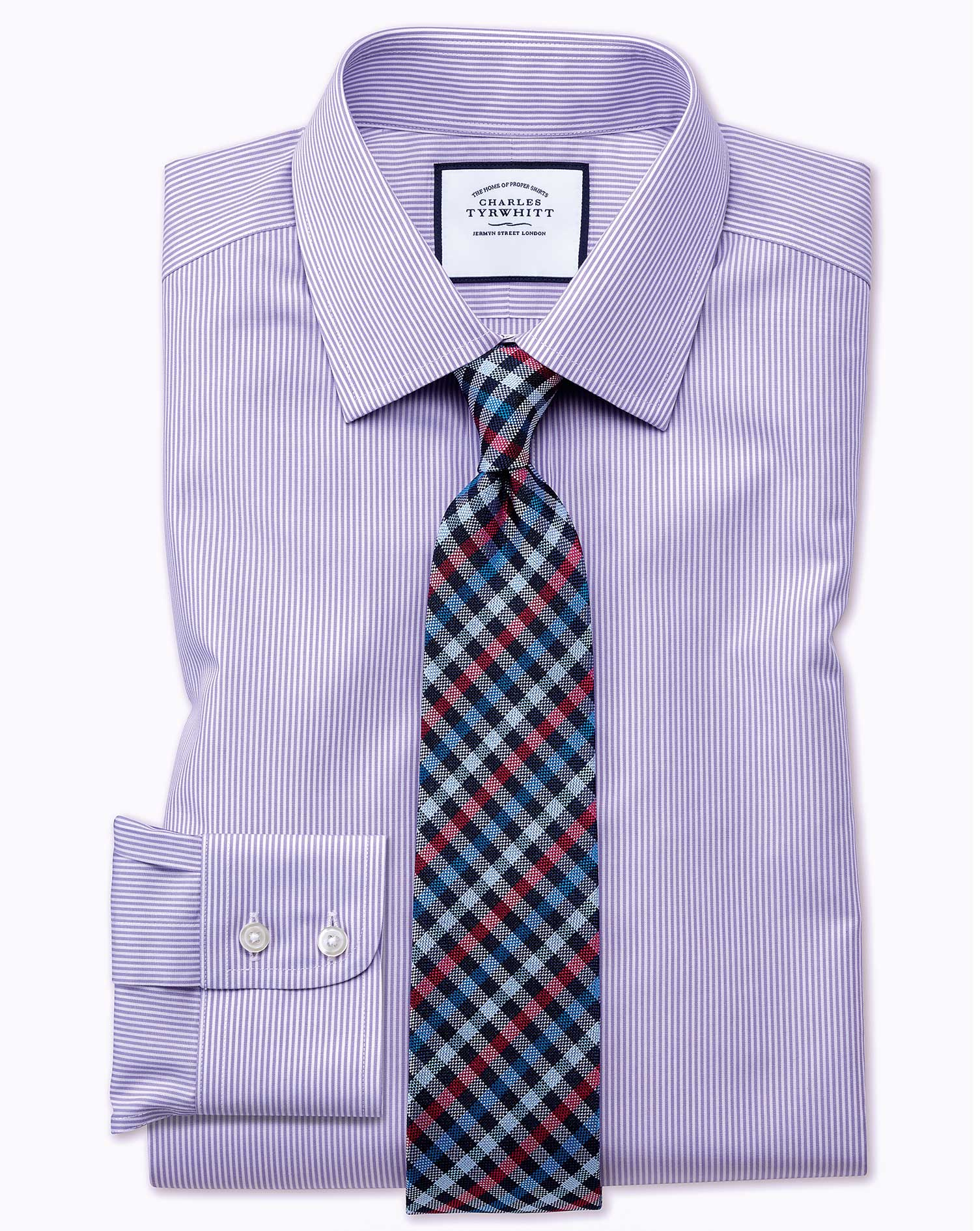Classic Fit Non-Iron Bengal Stripe Lilac Cotton Formal Shirt Single Cuff Size 18/35 by Charles Tyrwh