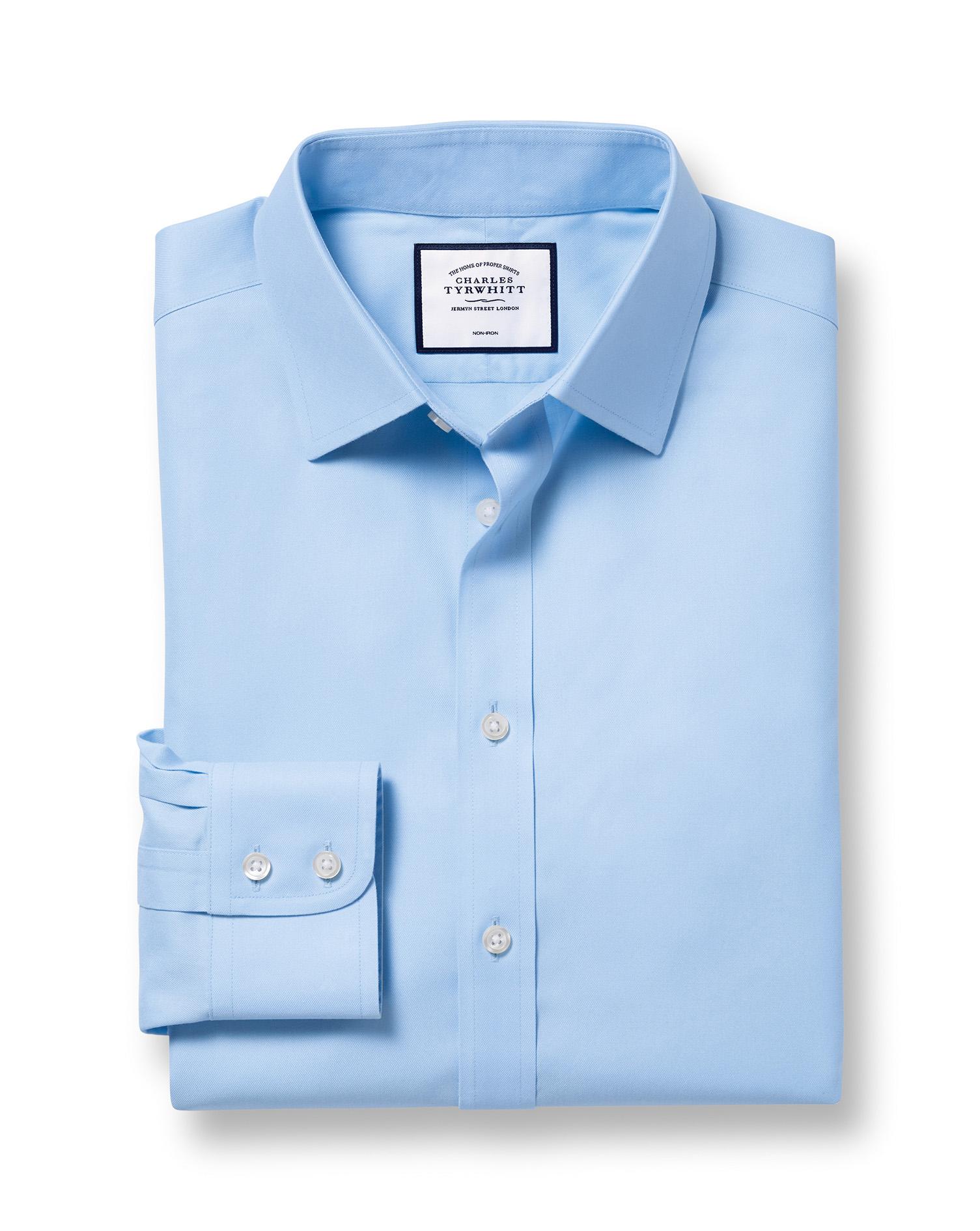 Slim Fit Non-Iron Twill Sky Blue Cotton Formal Shirt Single Cuff Size 16/36 by Charles Tyrwhitt