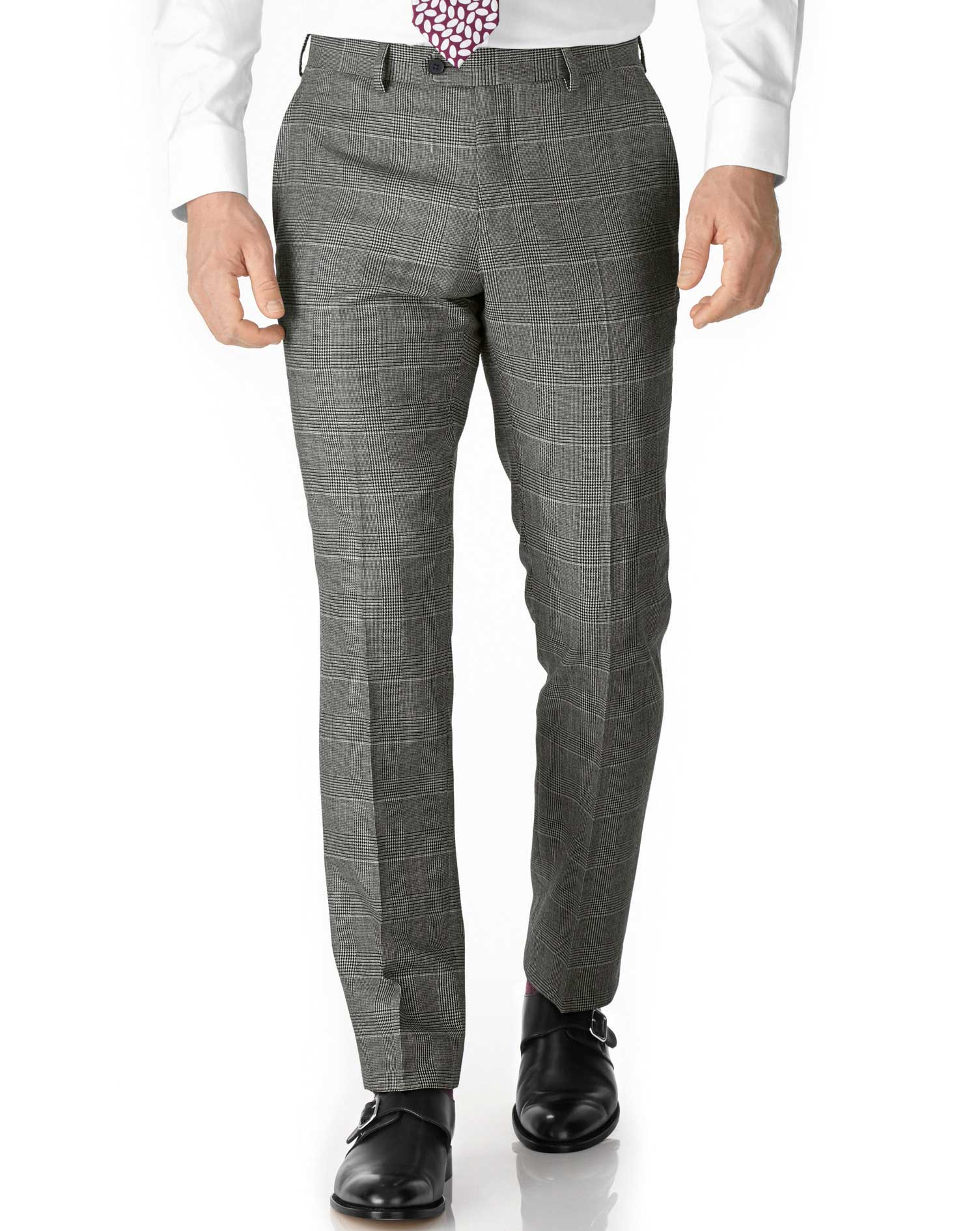 Grey Check Slim Fit Twill Business Suit Trouser Size W40 L32 by Charles Tyrwhitt