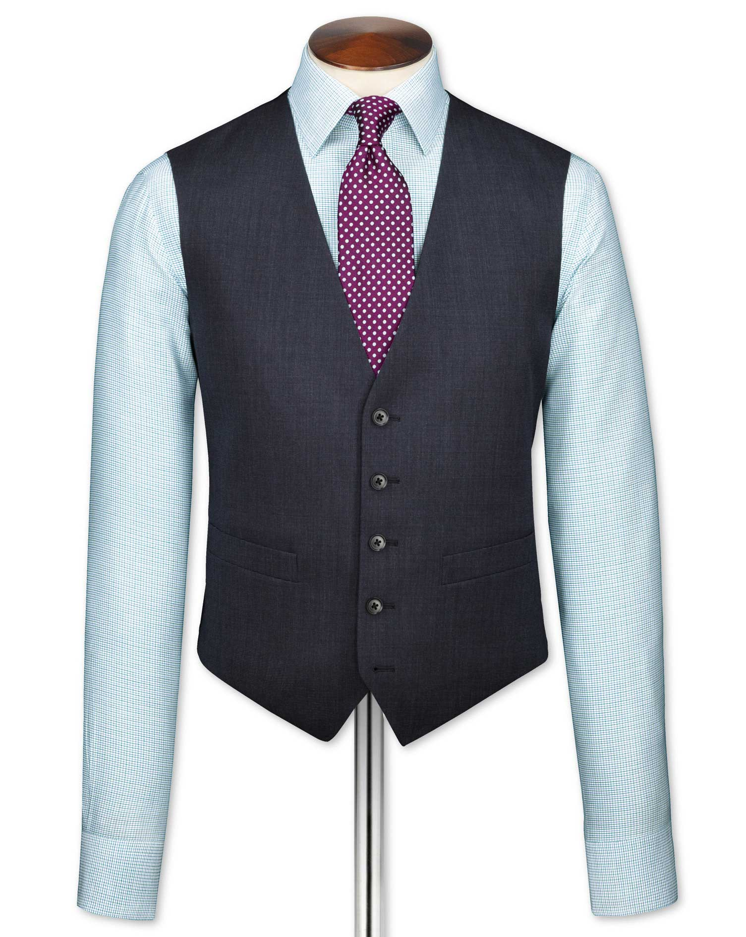 Navy End-On-End Business Suit Wool Waistcoat Size w40 by Charles Tyrwhitt