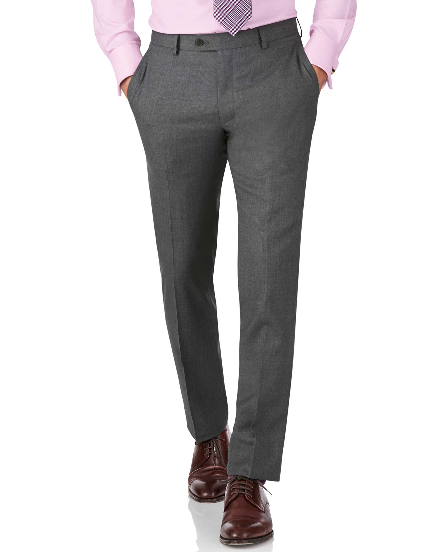Mid Grey Slim Fit Twill Business Suit Trouser Size W40 L38 by Charles Tyrwhitt