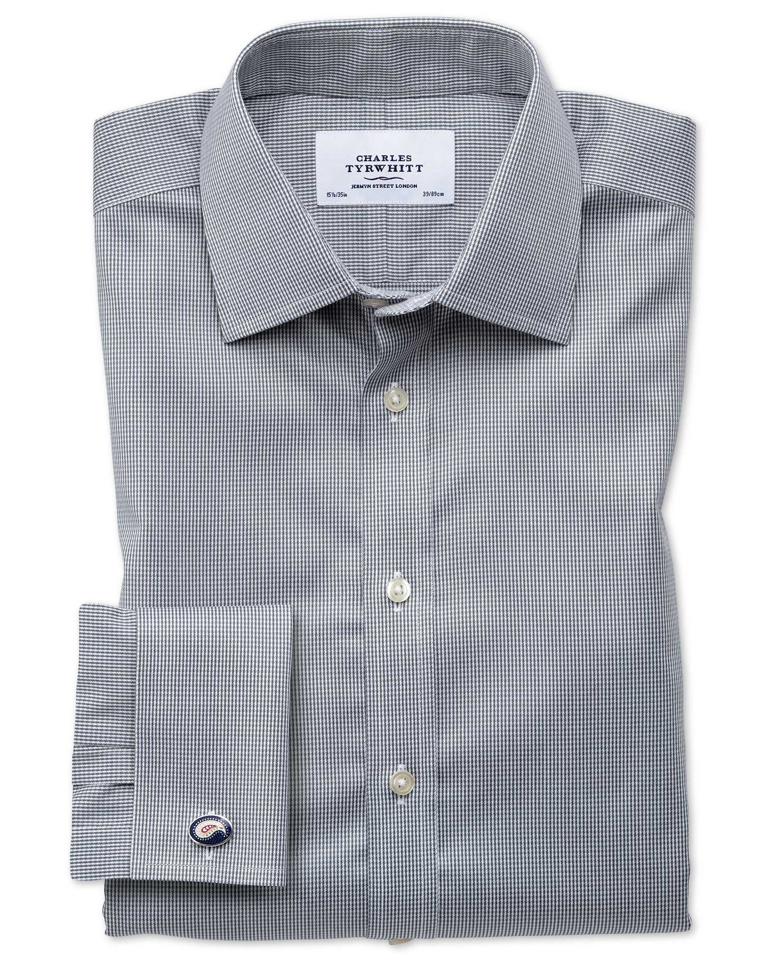 Classic Fit Non-Iron Puppytooth Dark Grey Cotton Formal Shirt Double Cuff Size 17/35 by Charles Tyrw