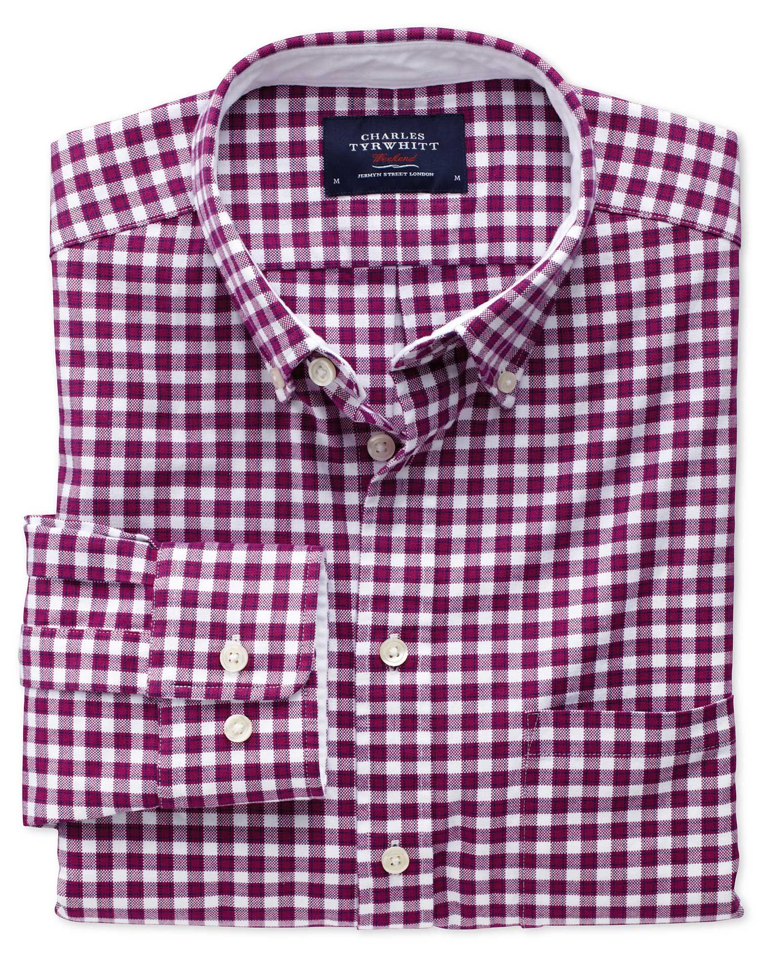 Classic Fit Berry Check Washed Oxford Cotton Shirt Single Cuff Size Small by Charles Tyrwhitt
