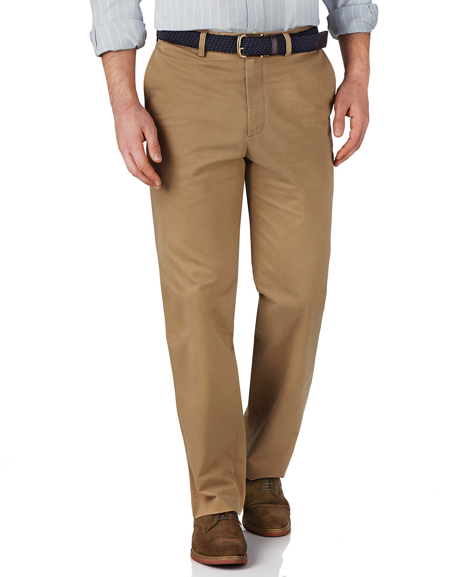 Tan Classic Fit Flat Front Weekend Cotton Chino Trousers Size W34 L34 by Charles Tyrwhitt