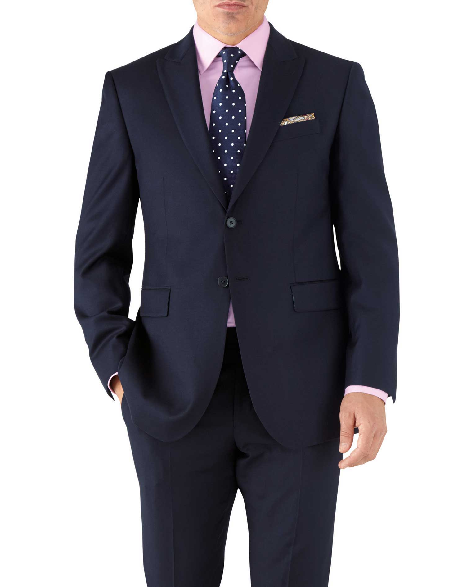 Navy Classic Fit Peak Lapel Twill Business Suit Wool Jacket Size 40 Short by Charles Tyrwhitt