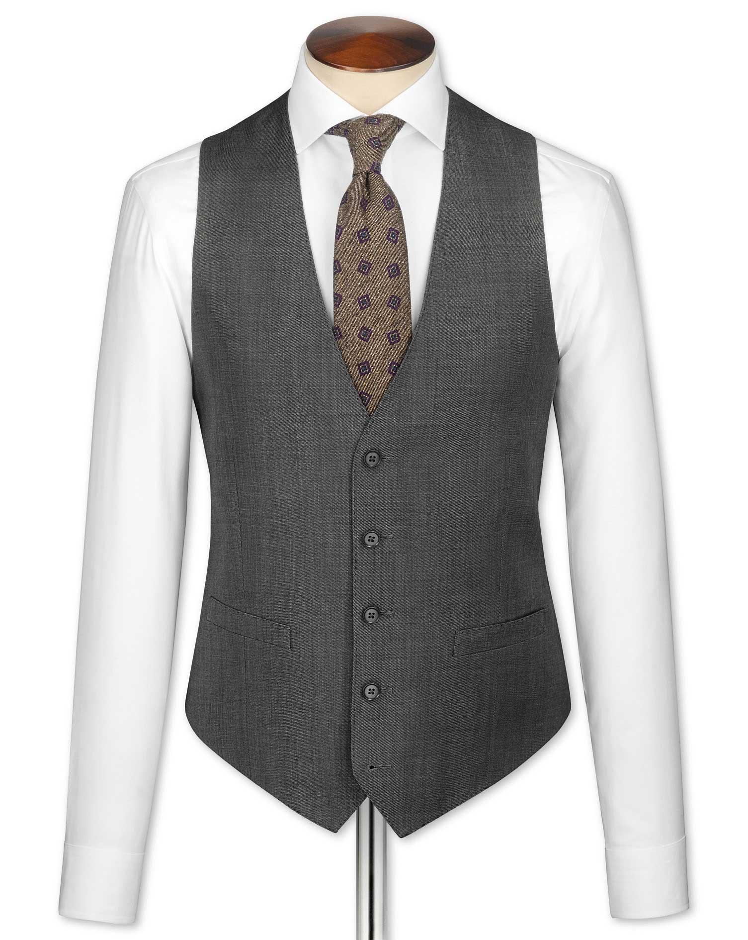 Grey Slim Fit Sharkskin Travel Suit Wool Waistcoat Size w46 by Charles Tyrwhitt