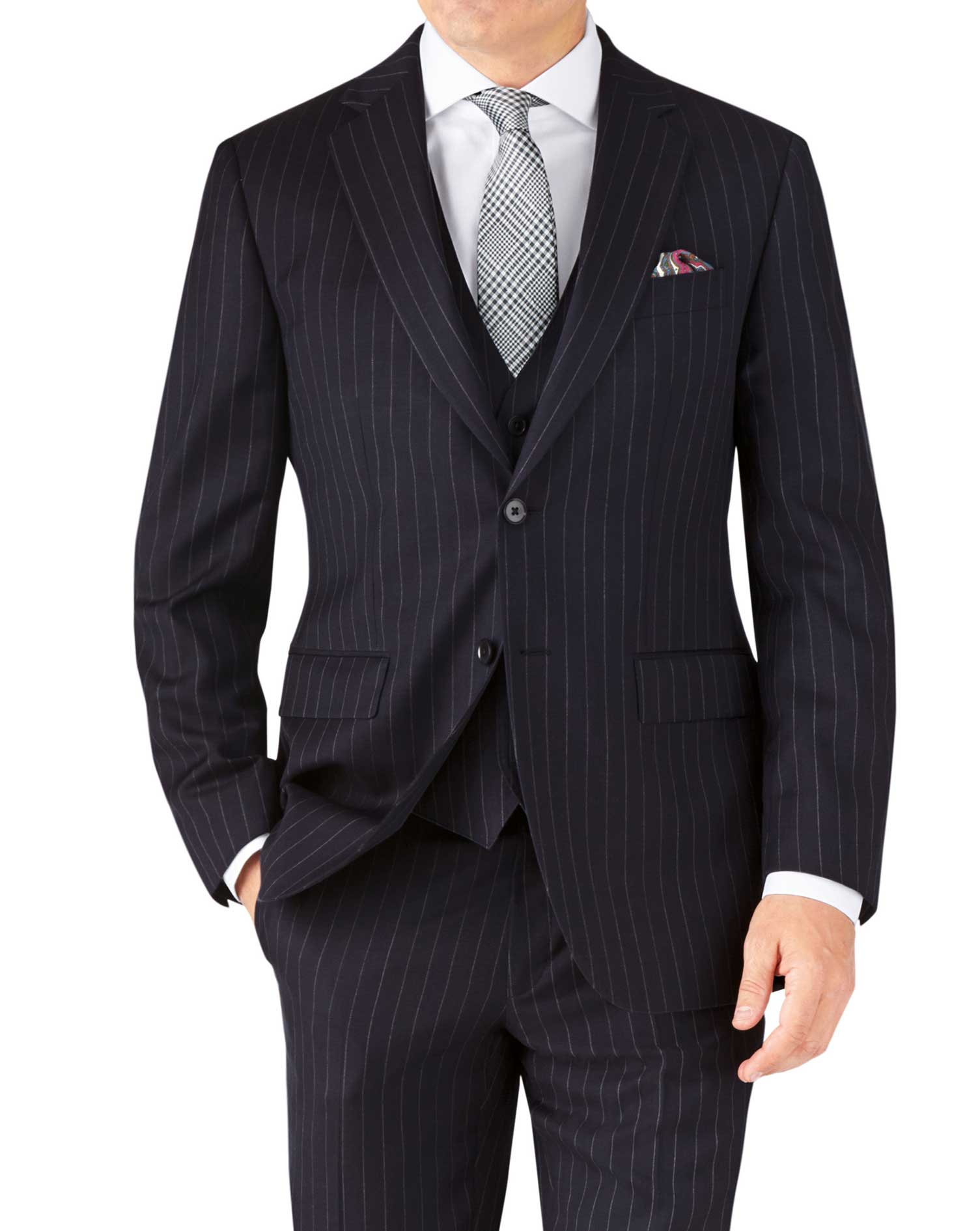 Navy Stripe Classic Fit Twill Business Suit Wool Jacket Size 44 Short by Charles Tyrwhitt