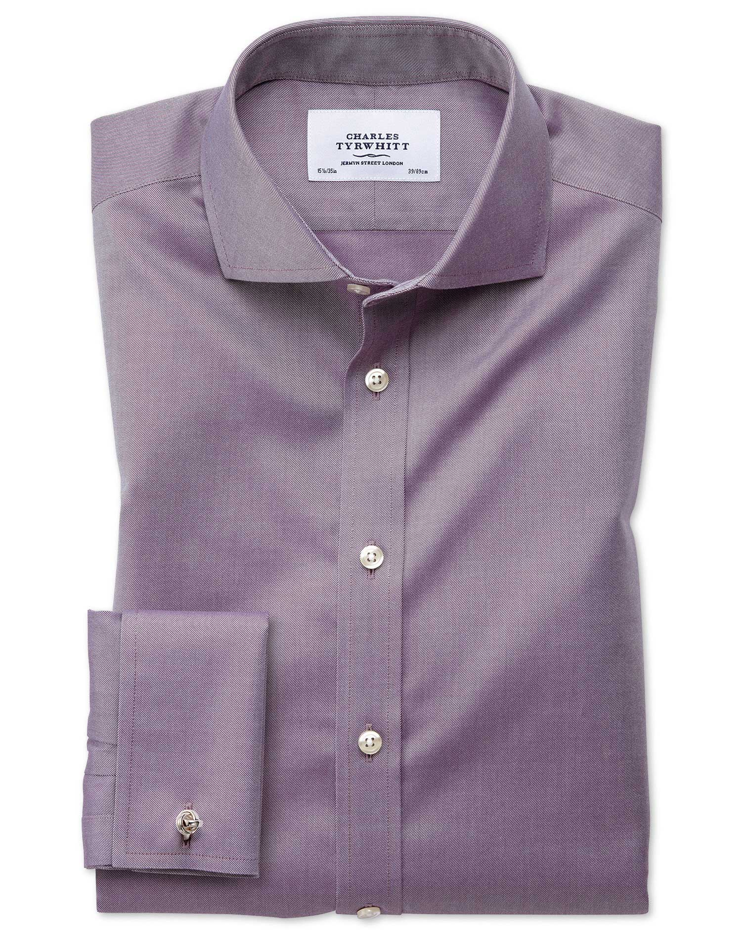 Extra Slim Fit Cutaway Non-Iron Twill Dark Purple Cotton Formal Shirt Double Cuff Size 15.5/35 by Ch