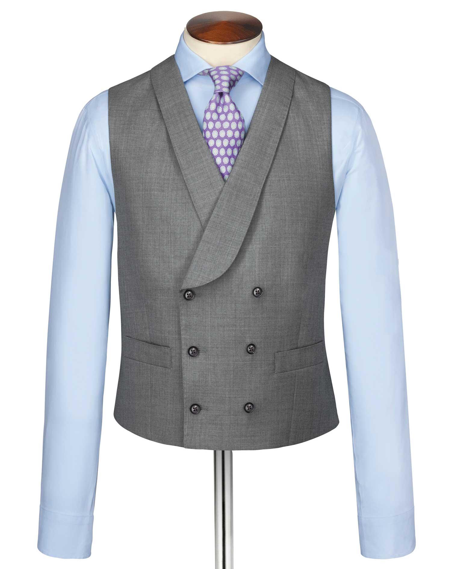 Silver Adjustable Fit British Panama Luxury Suit Wool Waistcoat Size w42 by Charles Tyrwhitt