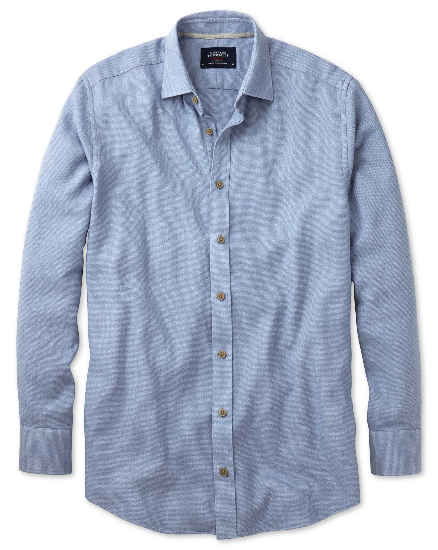 Classic Fit Mouline Mid Blue Textured Cotton Shirt Single Cuff Size Small by Charles Tyrwhitt