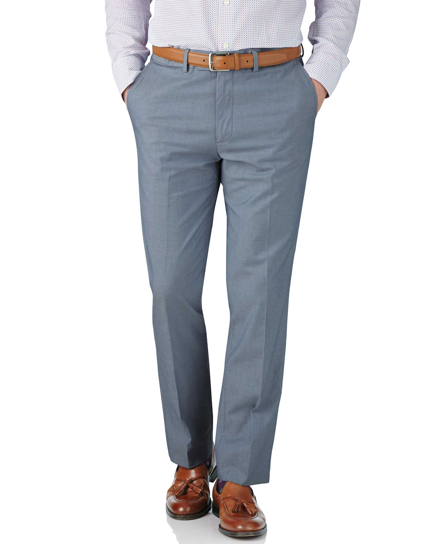 Blue Chambray Slim Fit Stretch Cavalry Twill Trousers Size W38 L34 by Charles Tyrwhitt