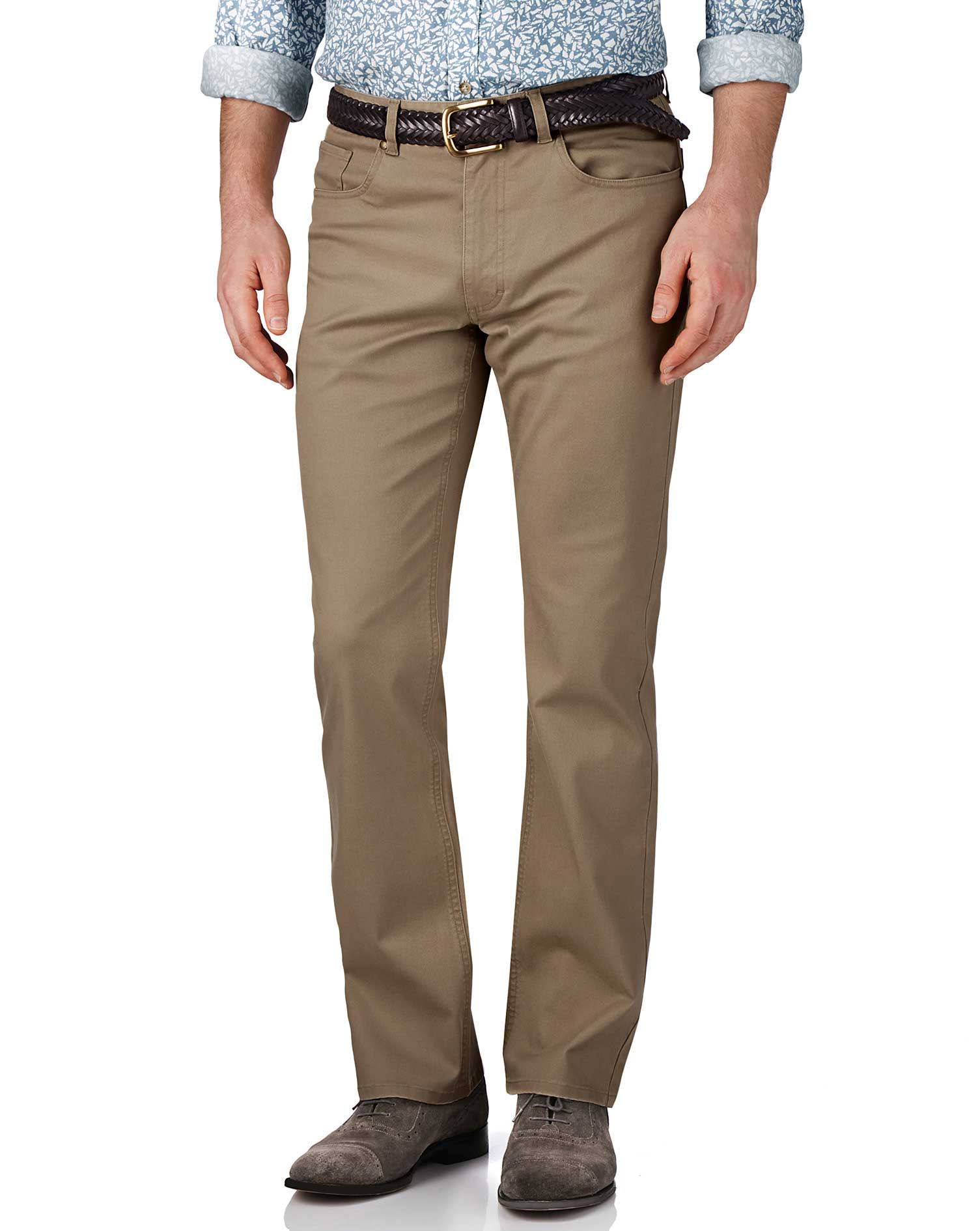 Stone Classic Fit Stretch Pique 5 Pocket Trousers Size W34 L32 by Charles Tyrwhitt