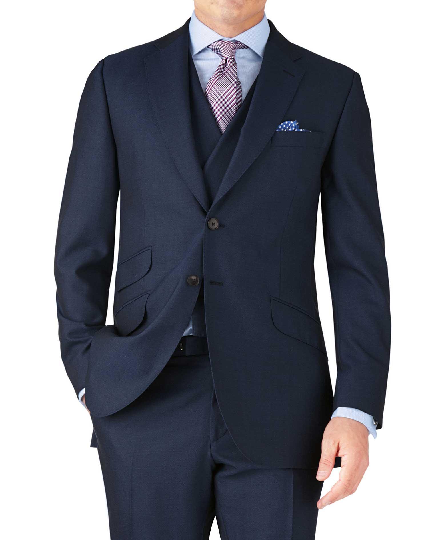 Blue Classic Fit British Panama Luxury Suit Wool Jacket Size 46 Long by Charles Tyrwhitt