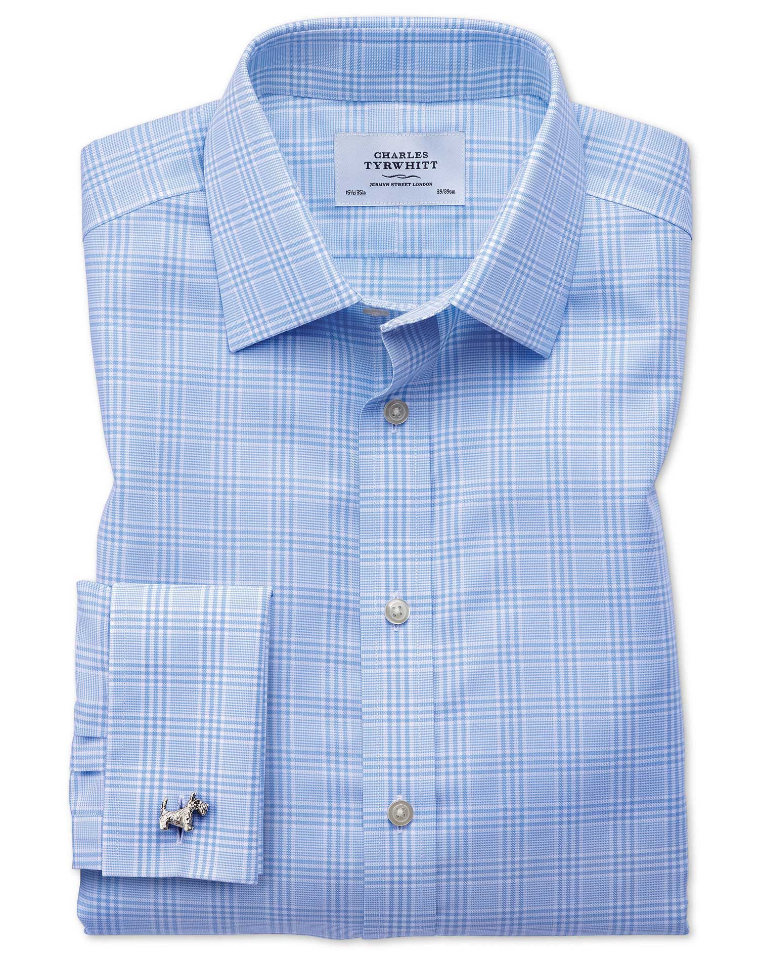 Slim Fit Non-Iron Prince Of Wales Sky Blue Cotton Formal Shirt Double Cuff Size 17/35 by Charles Tyr