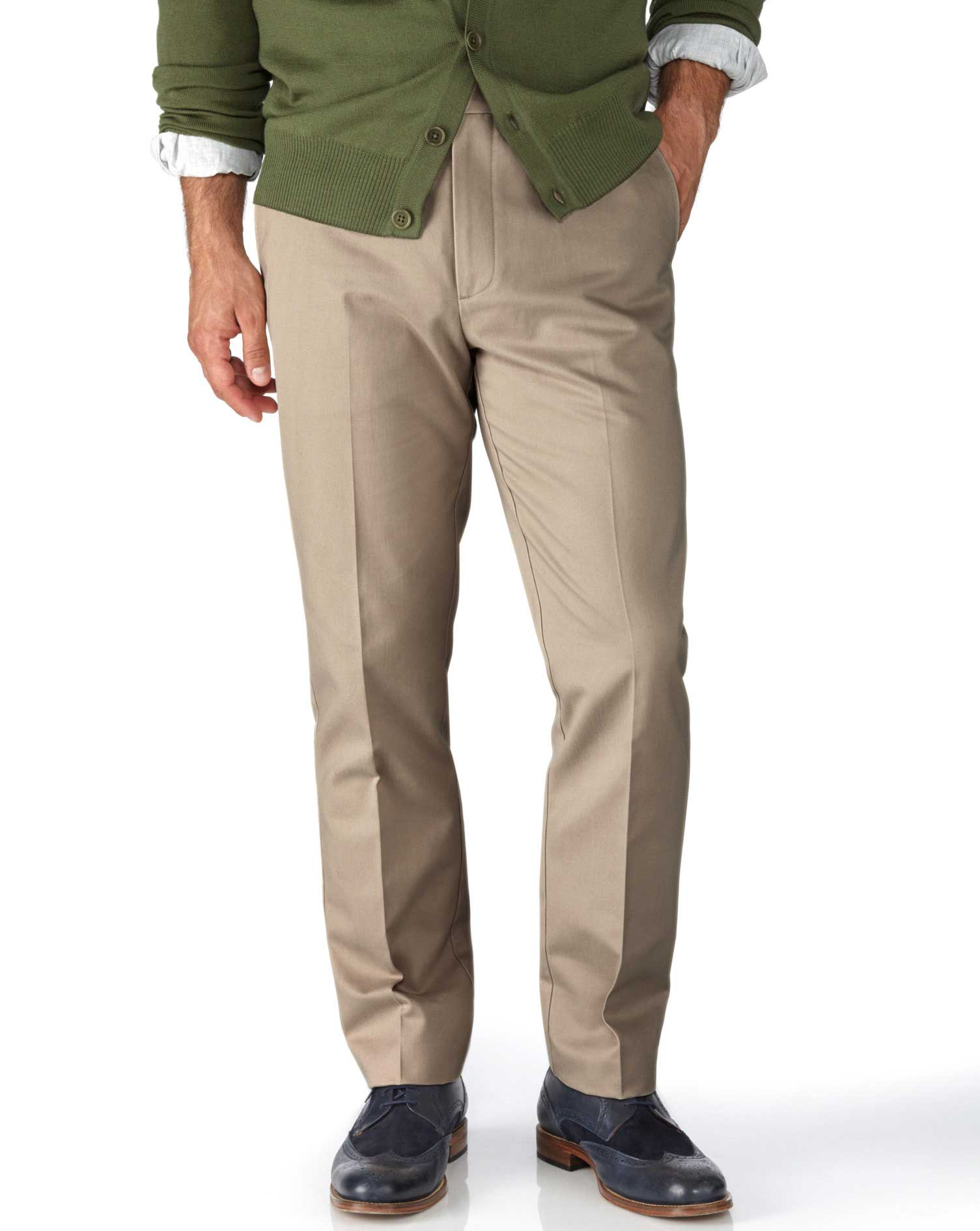 Stone Extra Slim Fit Flat Front Non-Iron Cotton Chino Trousers Size W30 L30 by Charles Tyrwhitt