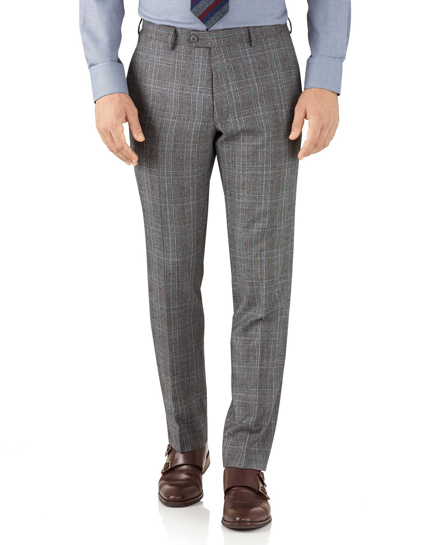 Silver Prince Of Wales Slim Fit Flannel Business Suit Trousers Size W34 L34 by Charles Tyrwhitt
