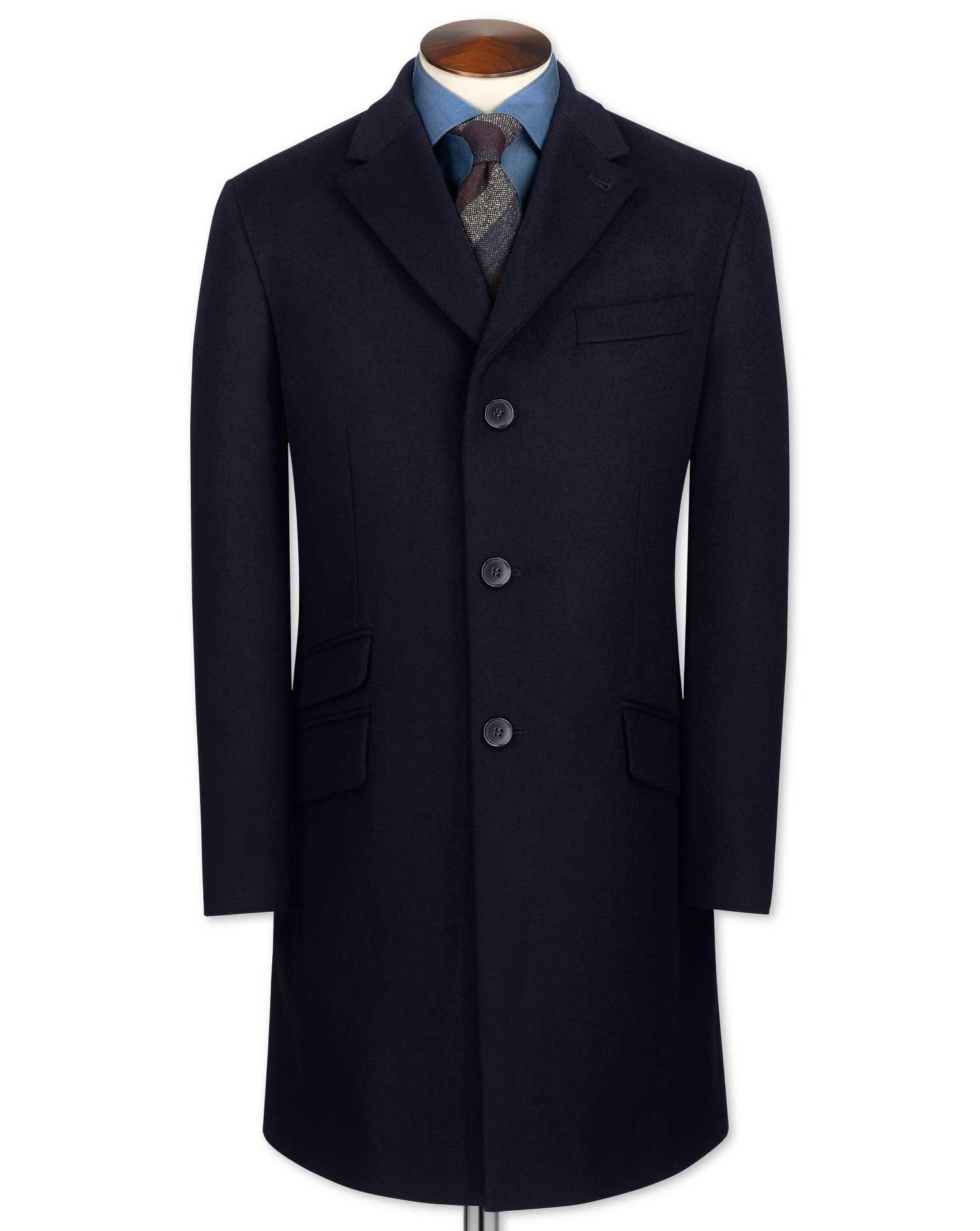 Navy Wool and Cashmere Epsom Overcoat Size 46 Regular by Charles Tyrwhitt