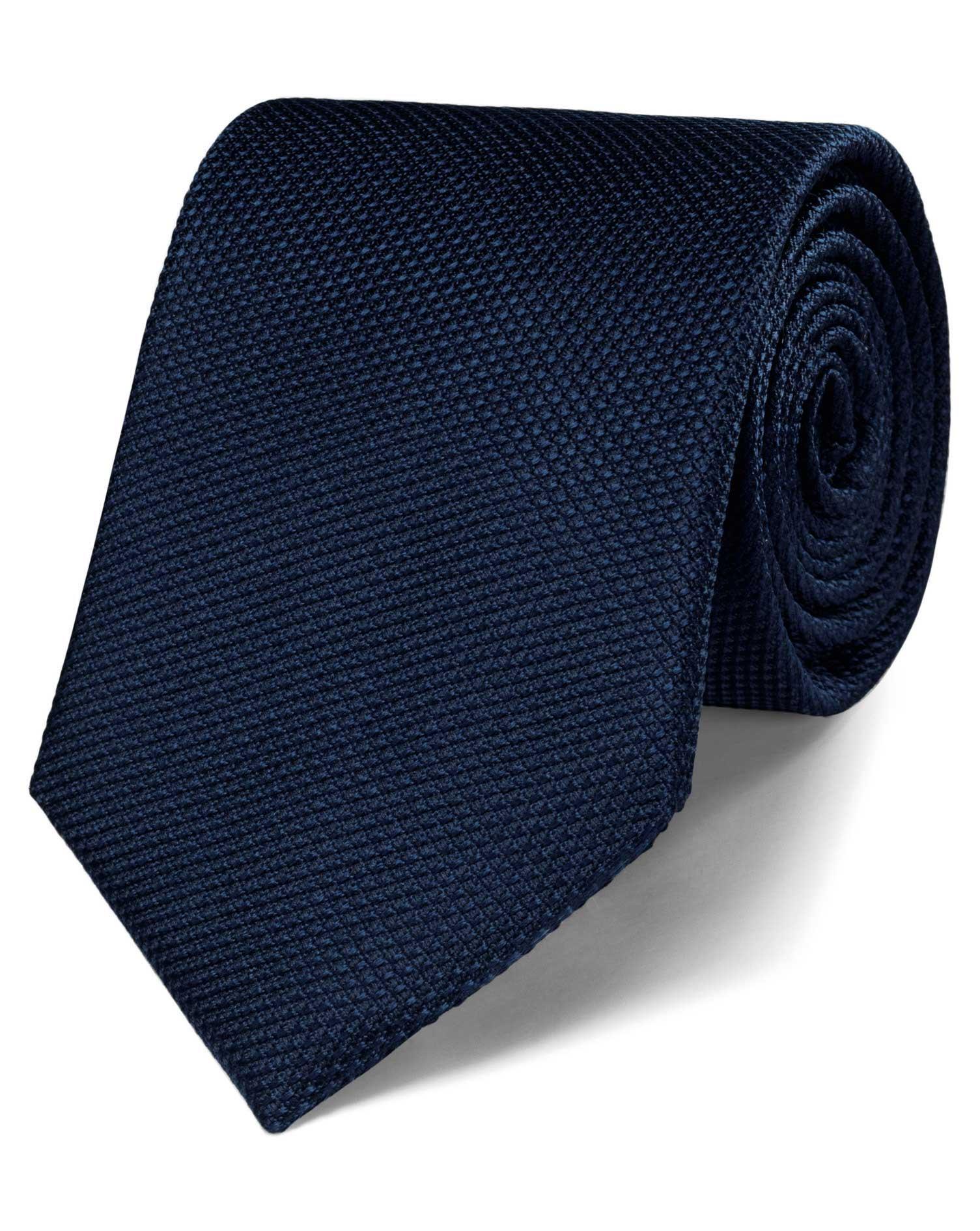 navy silk plain classic tie charles tyrwhitt
