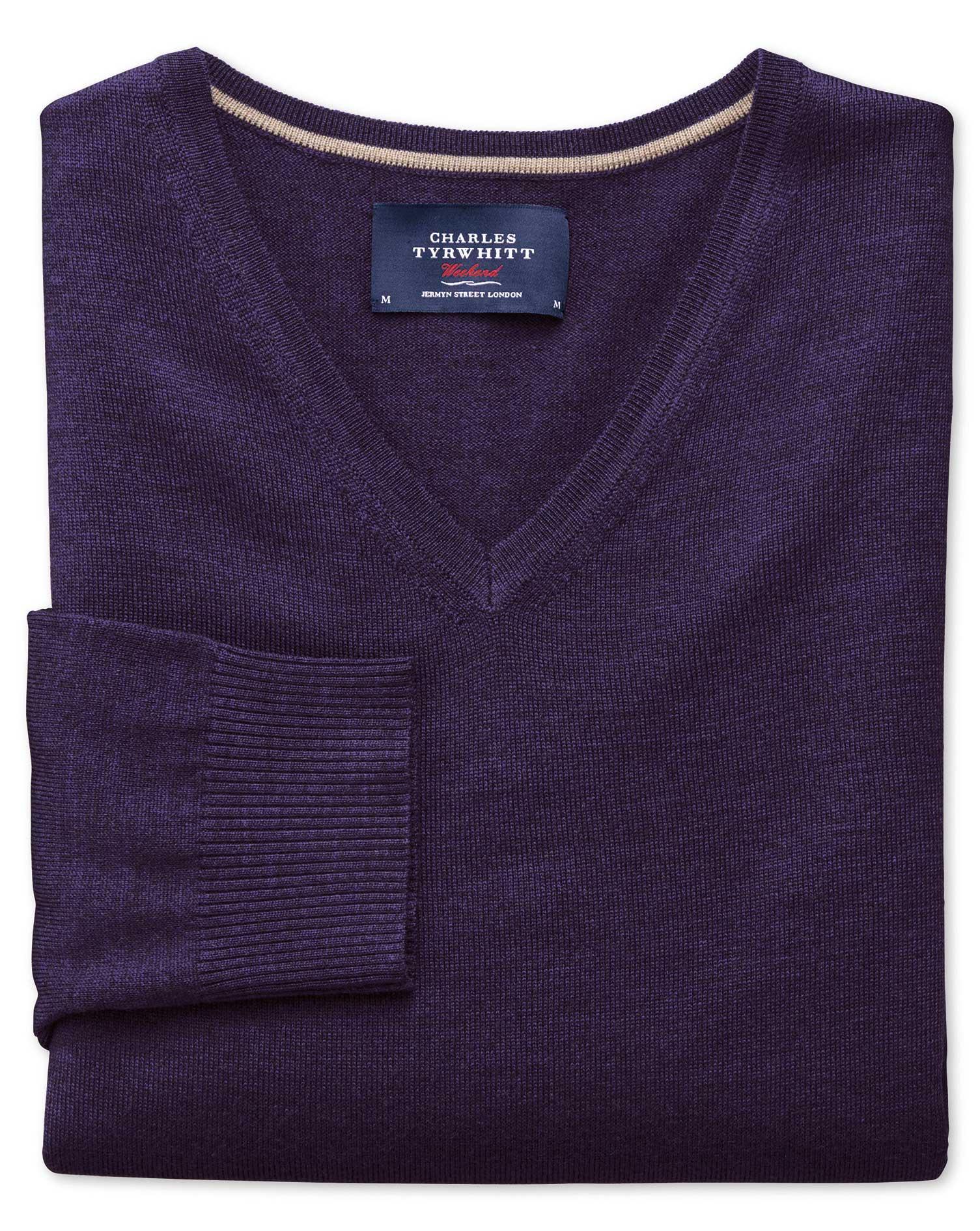 Purple Merino Wool V-Neck Jumper Size Large by Charles Tyrwhitt