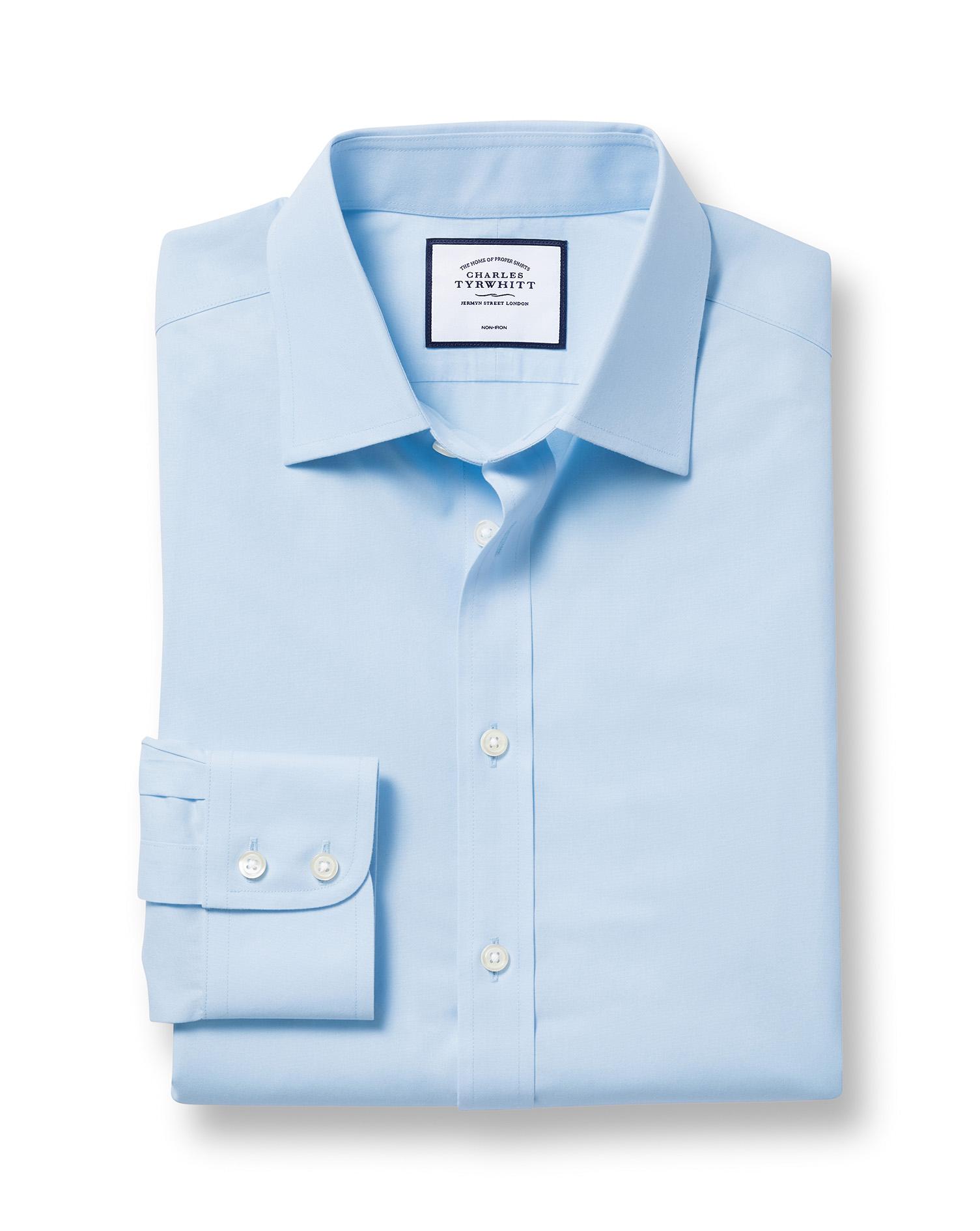Slim Fit Non-Iron Poplin Sky Blue Cotton Formal Shirt Double Cuff Size 17/34 by Charles Tyrwhitt