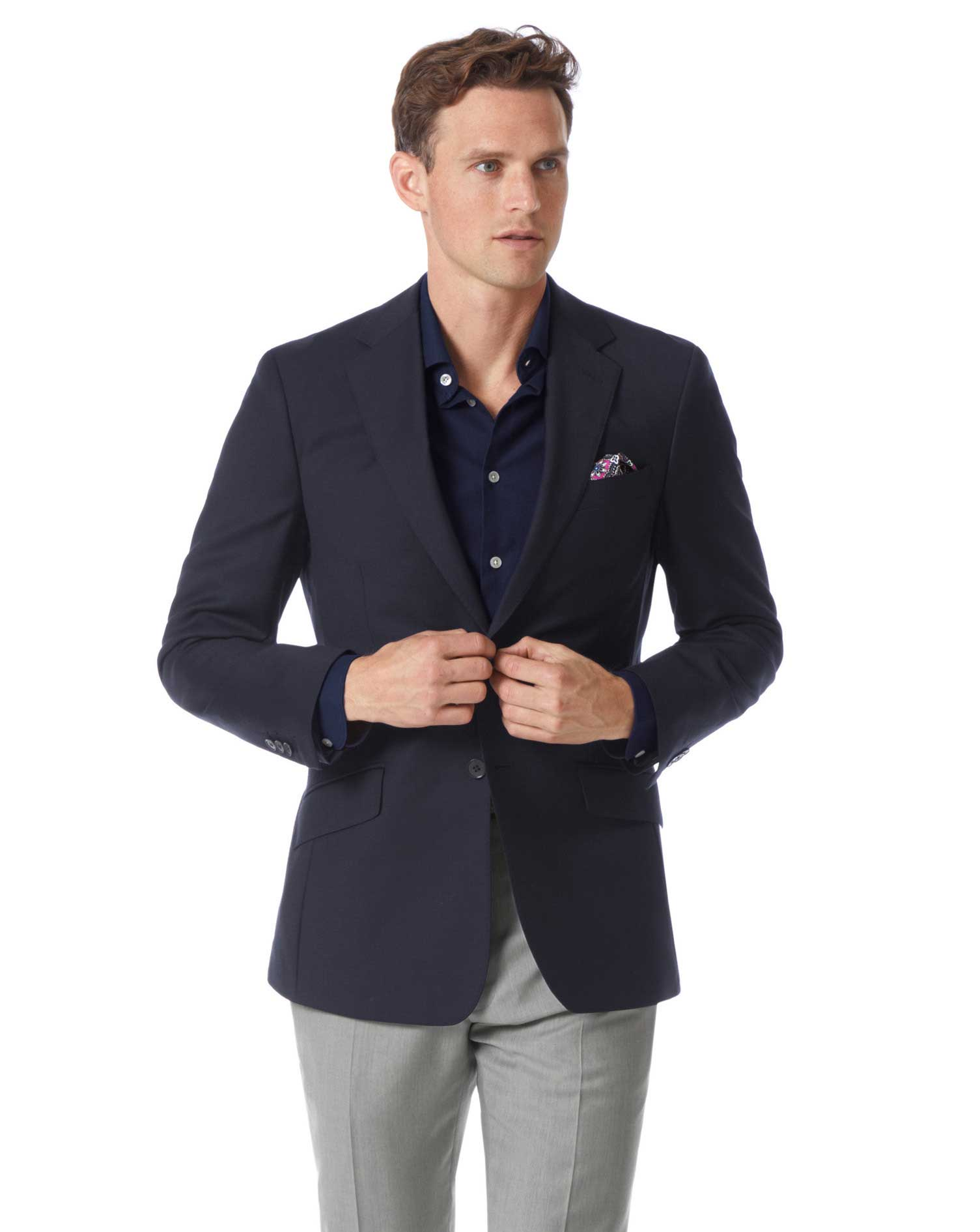 Slim Fit Navy Wool Wool Blazer Size 44 Long by Charles Tyrwhitt