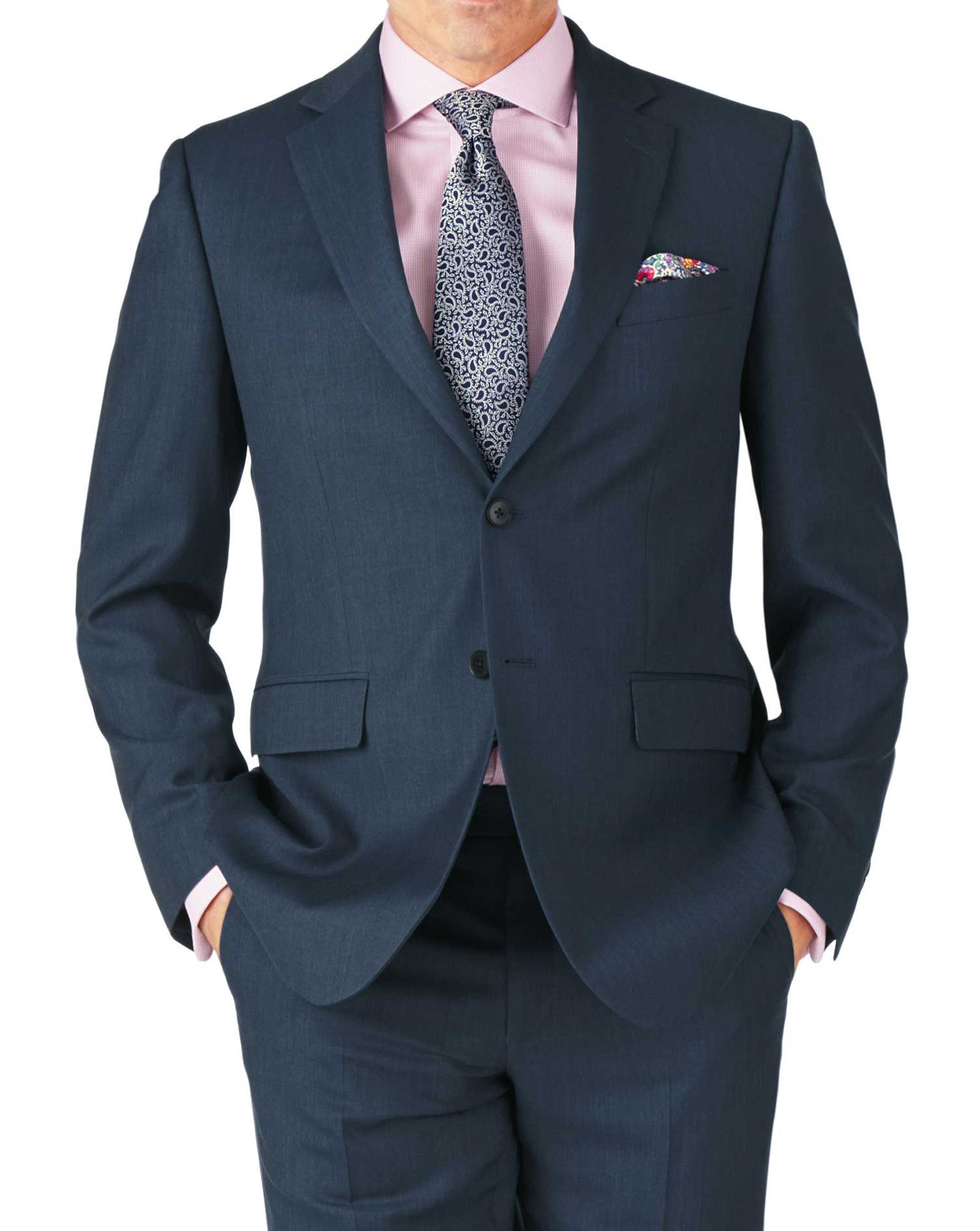 Blue Classic Fit Twill Business Suit Wool Jacket Size 44 Short by Charles Tyrwhitt
