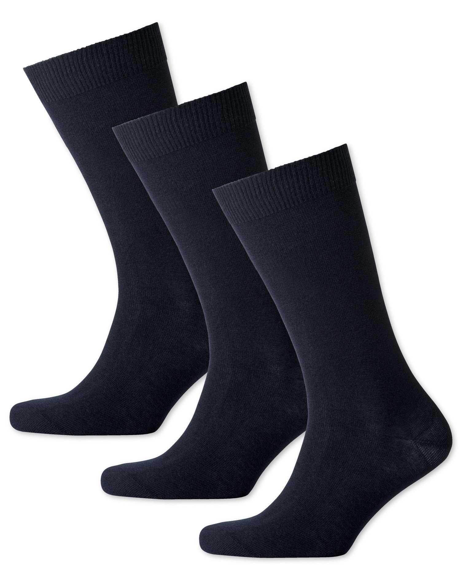 Navy Cotton Rich 3 Pack Socks Size Medium by Charles Tyrwhitt