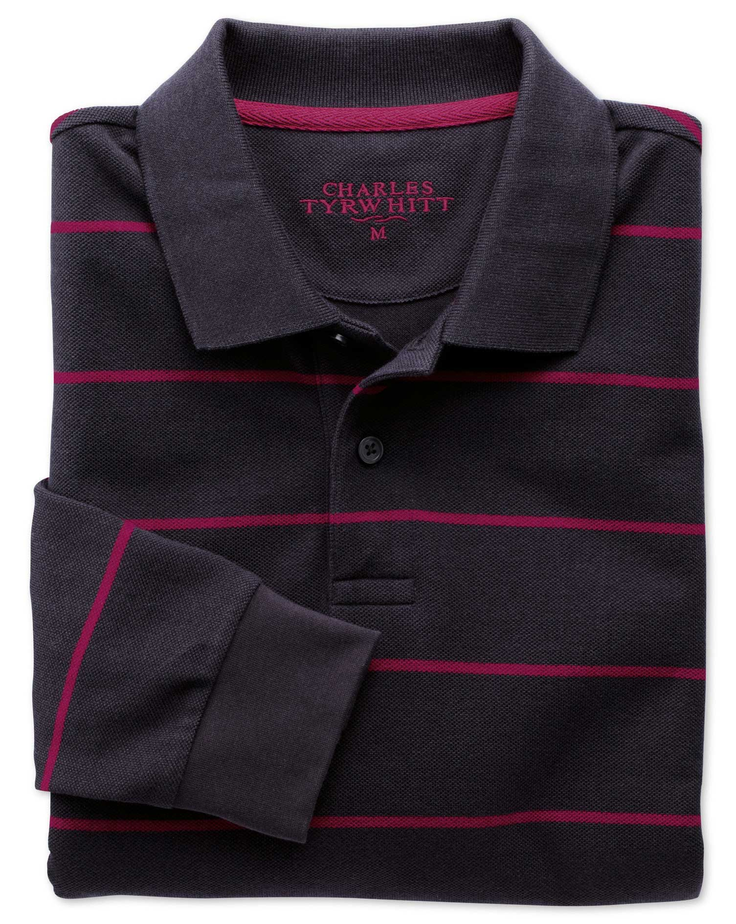 Navy and Berry Stripe Pique Long Sleeve Cotton Polo Size XXL by Charles Tyrwhitt