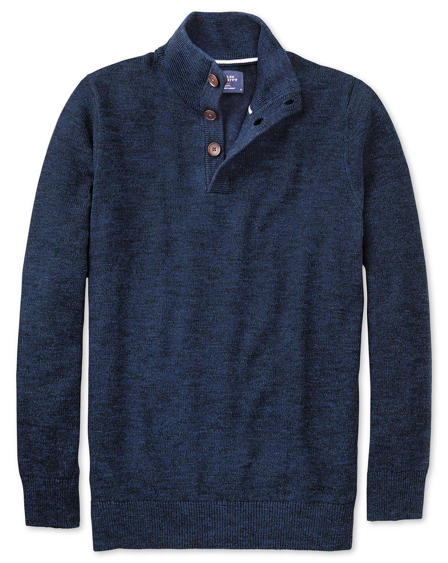 Pullover mit Knopfkragen in Indigoblau Meliert