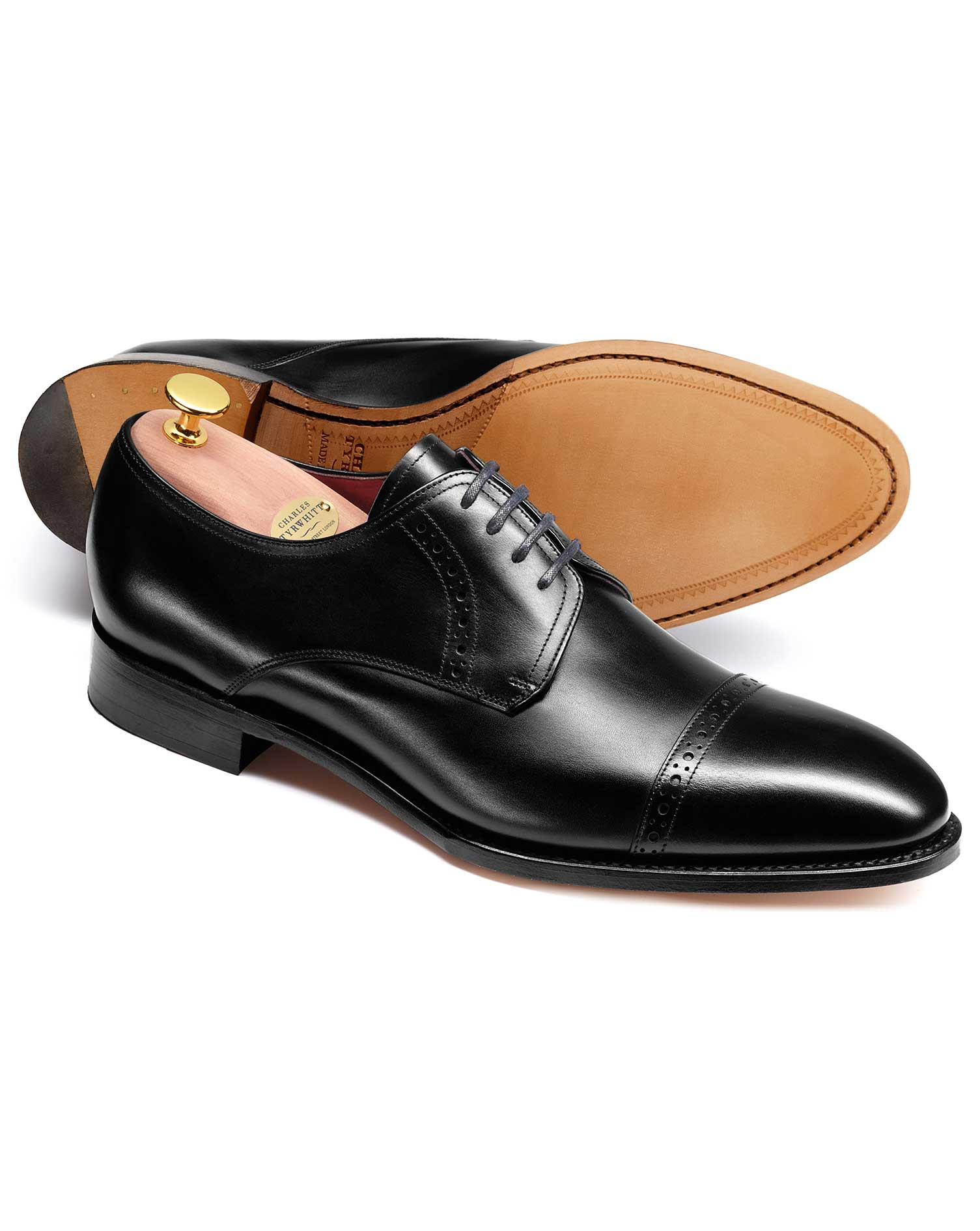 Black Hallworthy Calf Leather Toe Cap Brogue Derby Shoes Size 7 W by Charles Tyrwhitt