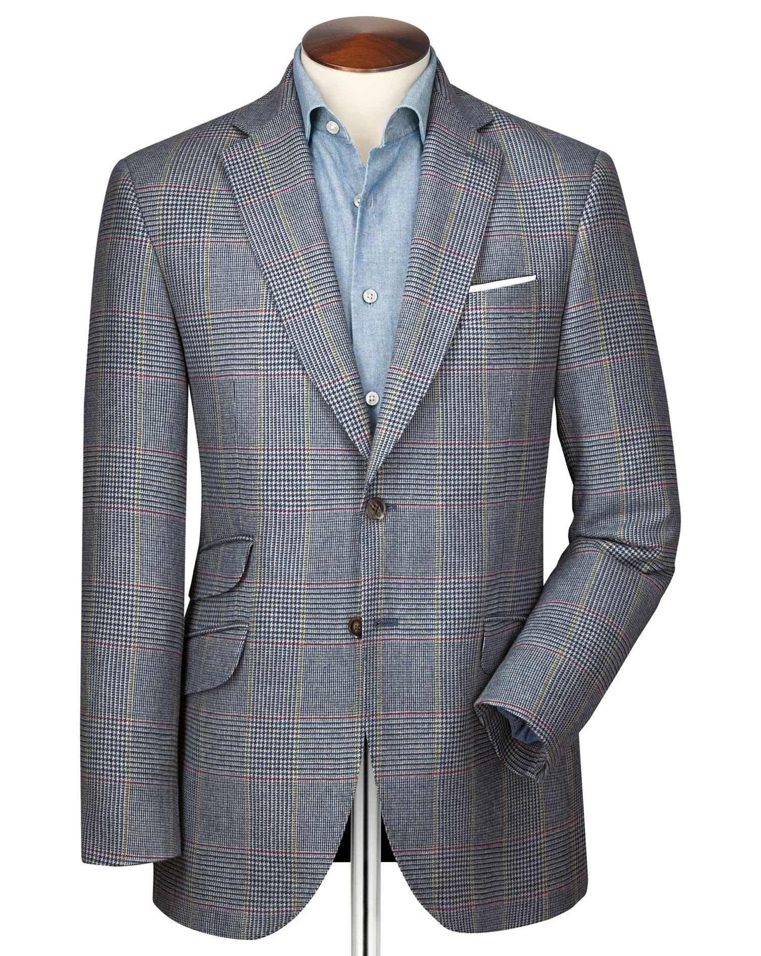 Slim Fit Blue Prince Of Wales Checkered Luxury Border Tweed Wool Jacket Size 36 Regular by Charles T