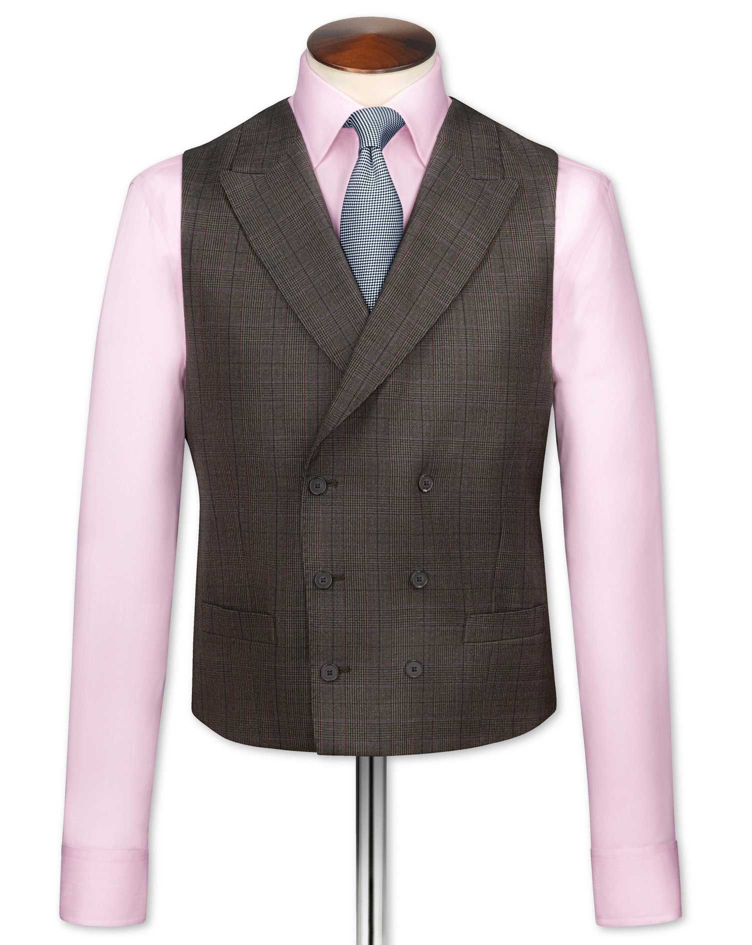 Brown Check British Panama Luxury Suit Wool Waistcoat Size w36 by Charles Tyrwhitt