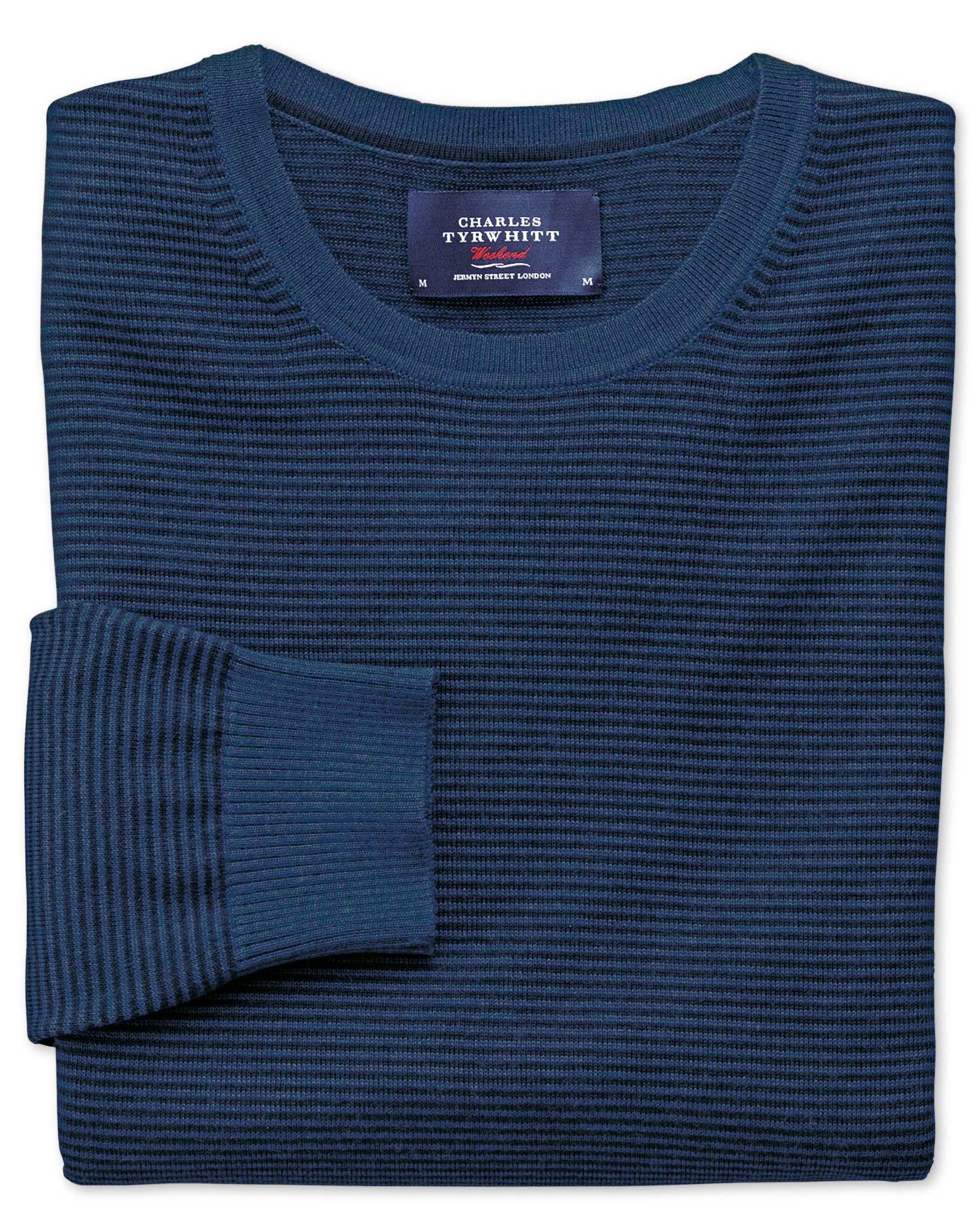 Navy and Blue Merino Wool Crew Neck Jumper Size XXXL by Charles Tyrwhitt