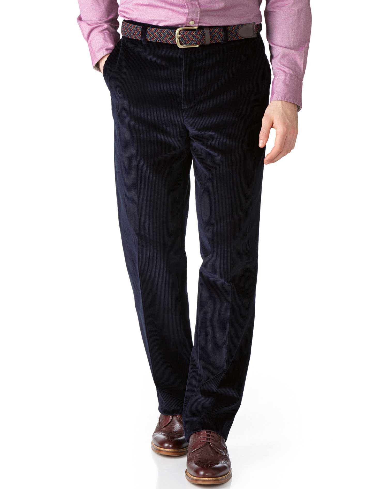 Navy Classic Fit Jumbo Cord Trousers Size W34 L30 by Charles Tyrwhitt