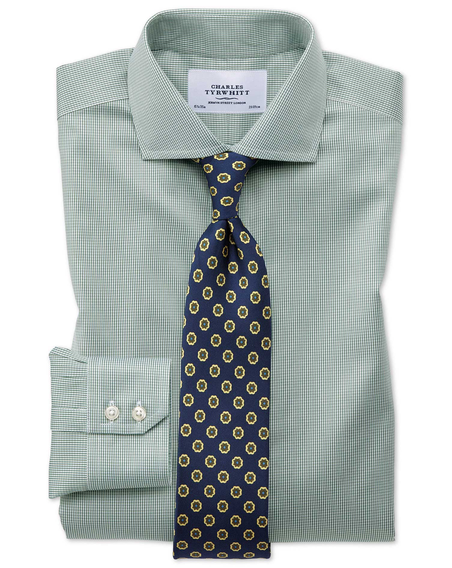 Slim Fit Cutaway Non Iron Puppytooth Olive Shirt Charles