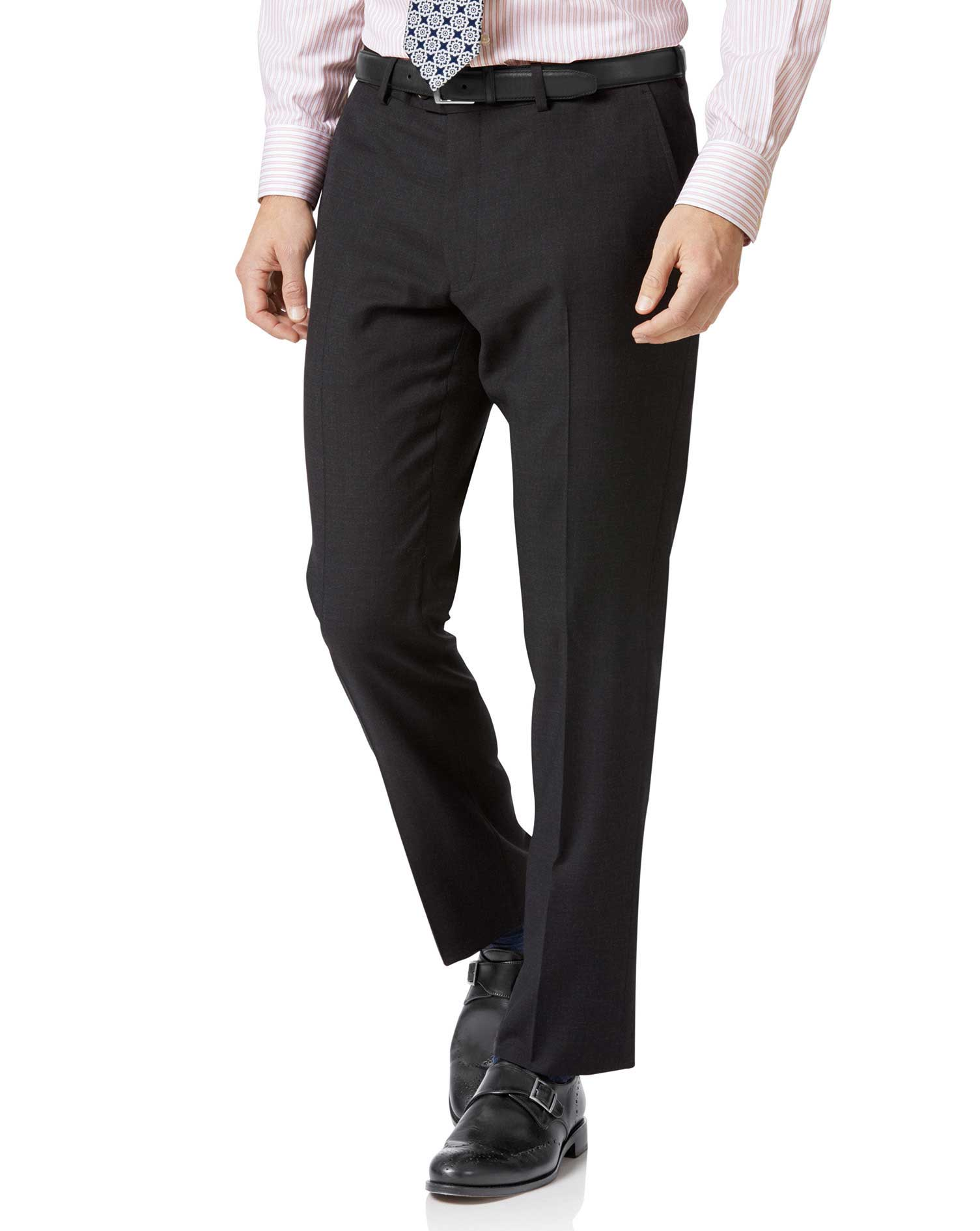 Charcoal Slim Fit Twill Business Suit Trousers Size W42 L34 by Charles Tyrwhitt