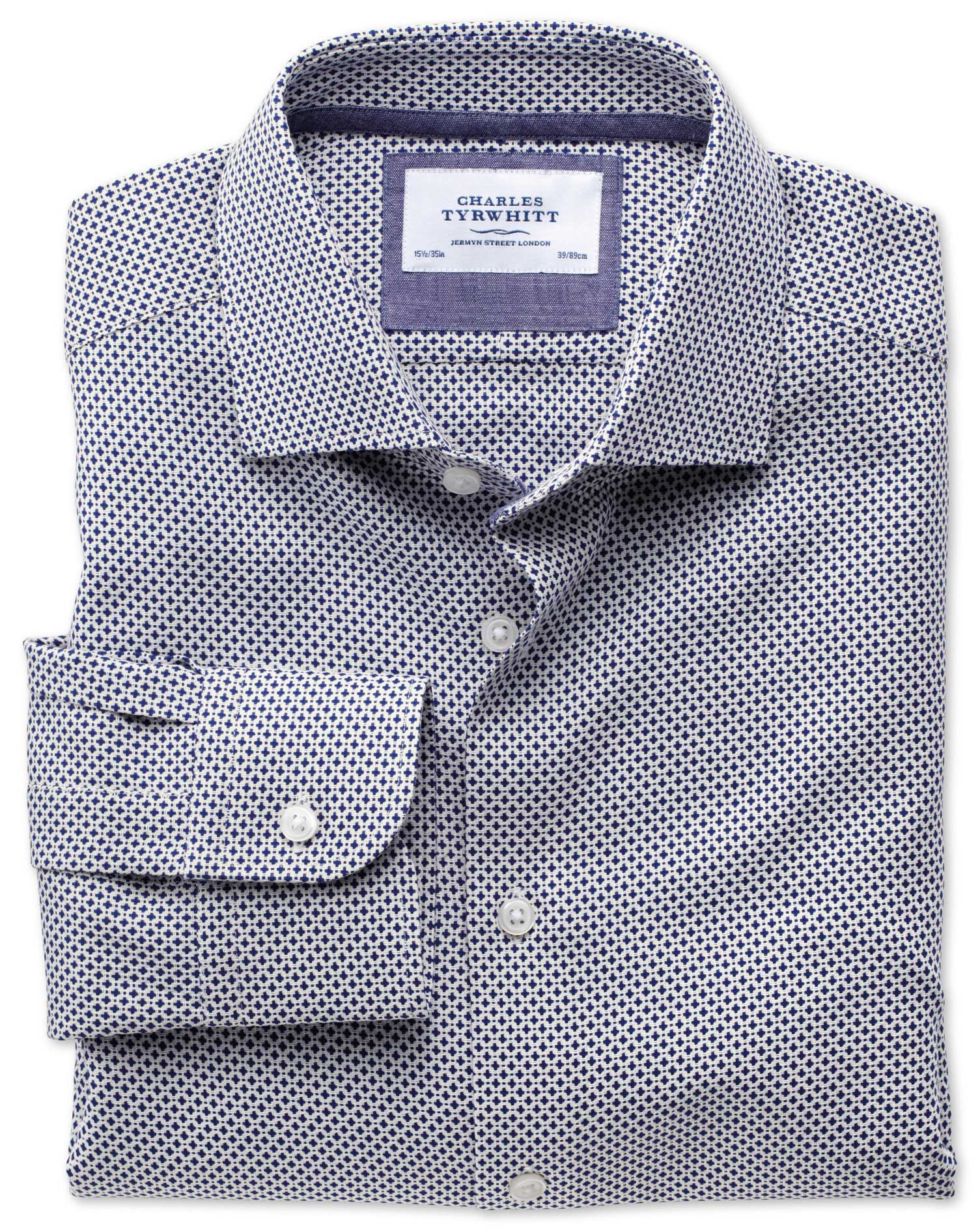 Classic Fit Semi-Cutaway Collar Business Casual Navy Egyptian Cotton Formal Shirt Single Cuff Size 1