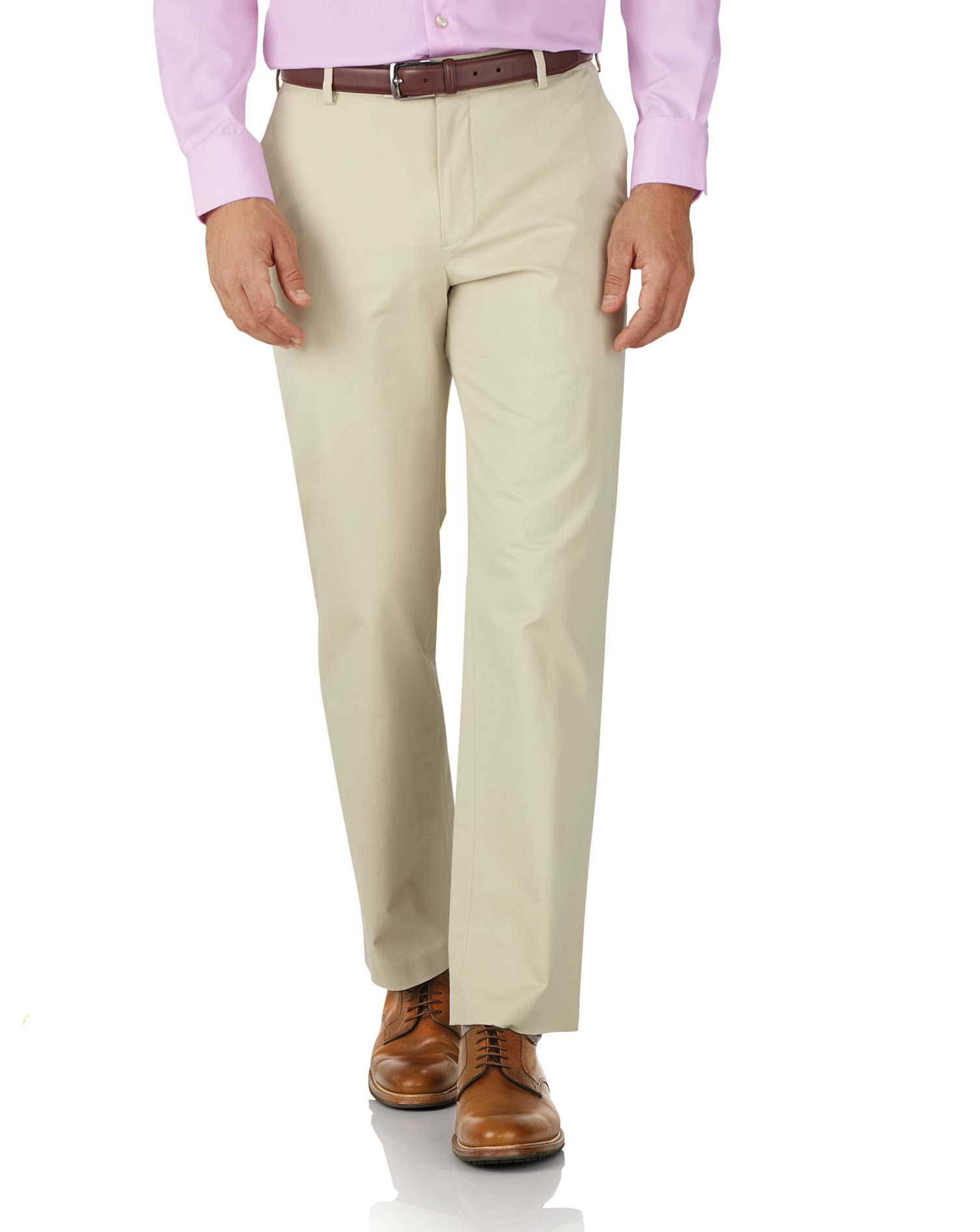 Stone Classic Fit Stretch Cotton Chino Trousers Size W34 L30 by Charles Tyrwhitt