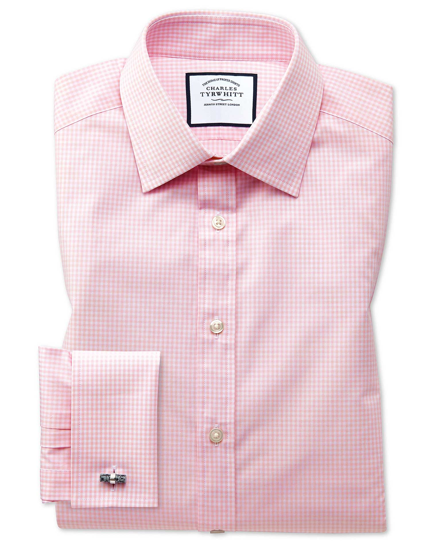 Classic Fit Small Gingham Light Pink Cotton Formal Shirt Double Cuff Size 15/33 by Charles Tyrwhitt