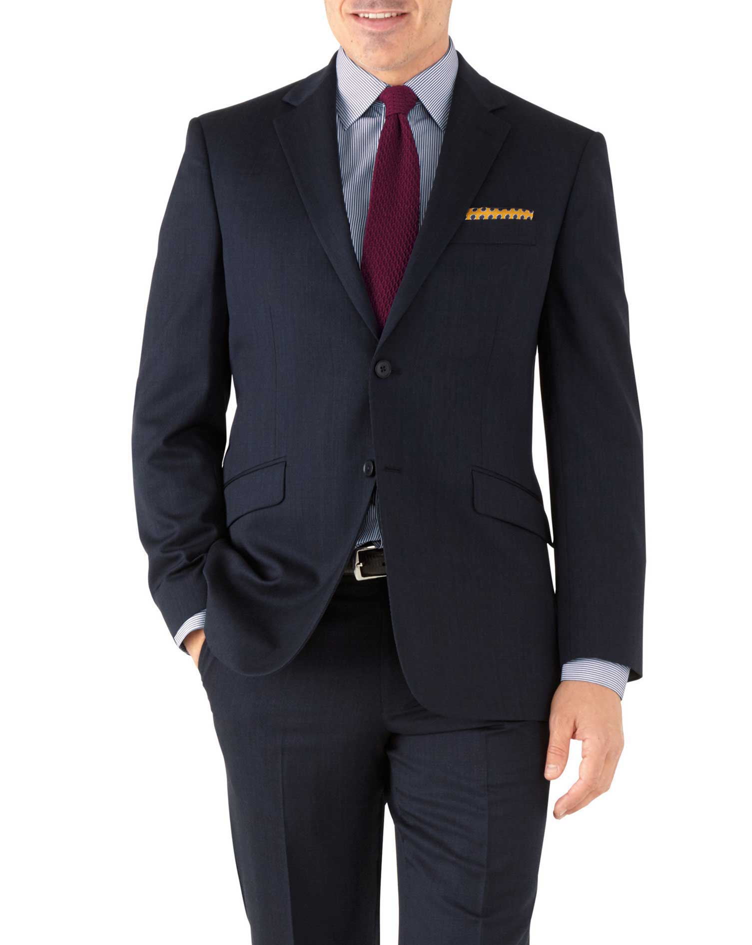 Navy Classic Fit Hairline Business Suit Wool Jacket Size 40 Long by Charles Tyrwhitt