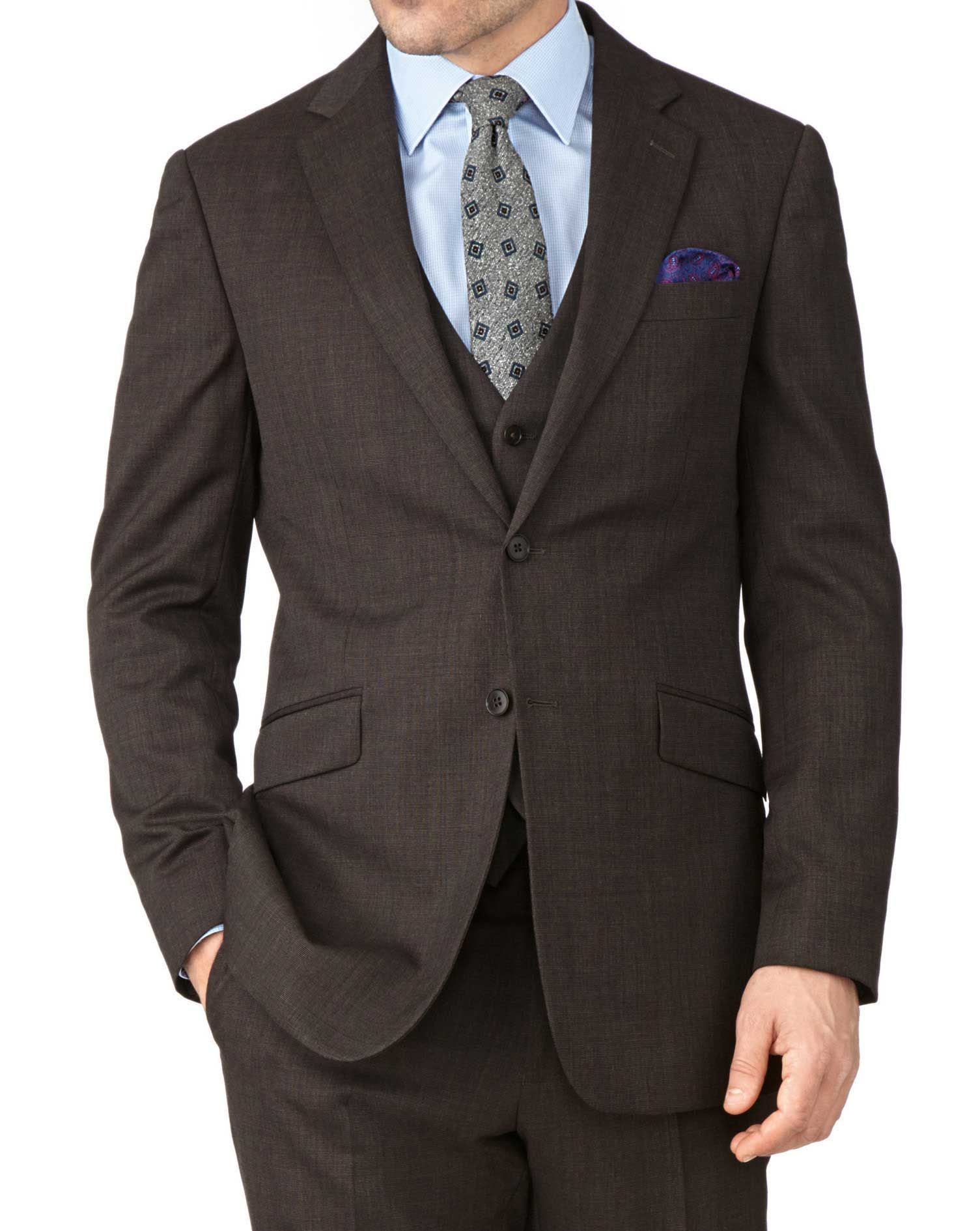 Brown Slim Fit End-On-End Business Suit Wool Jacket Size 38 Short by Charles Tyrwhitt