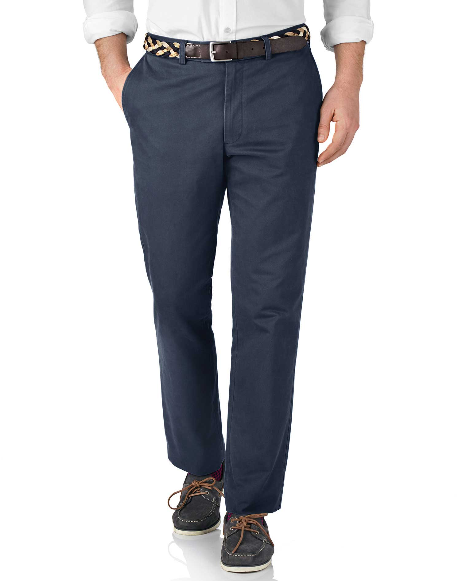 Airforce Blue Slim Fit Flat Front Cotton Chino Trousers Size W30 L30 by Charles Tyrwhitt