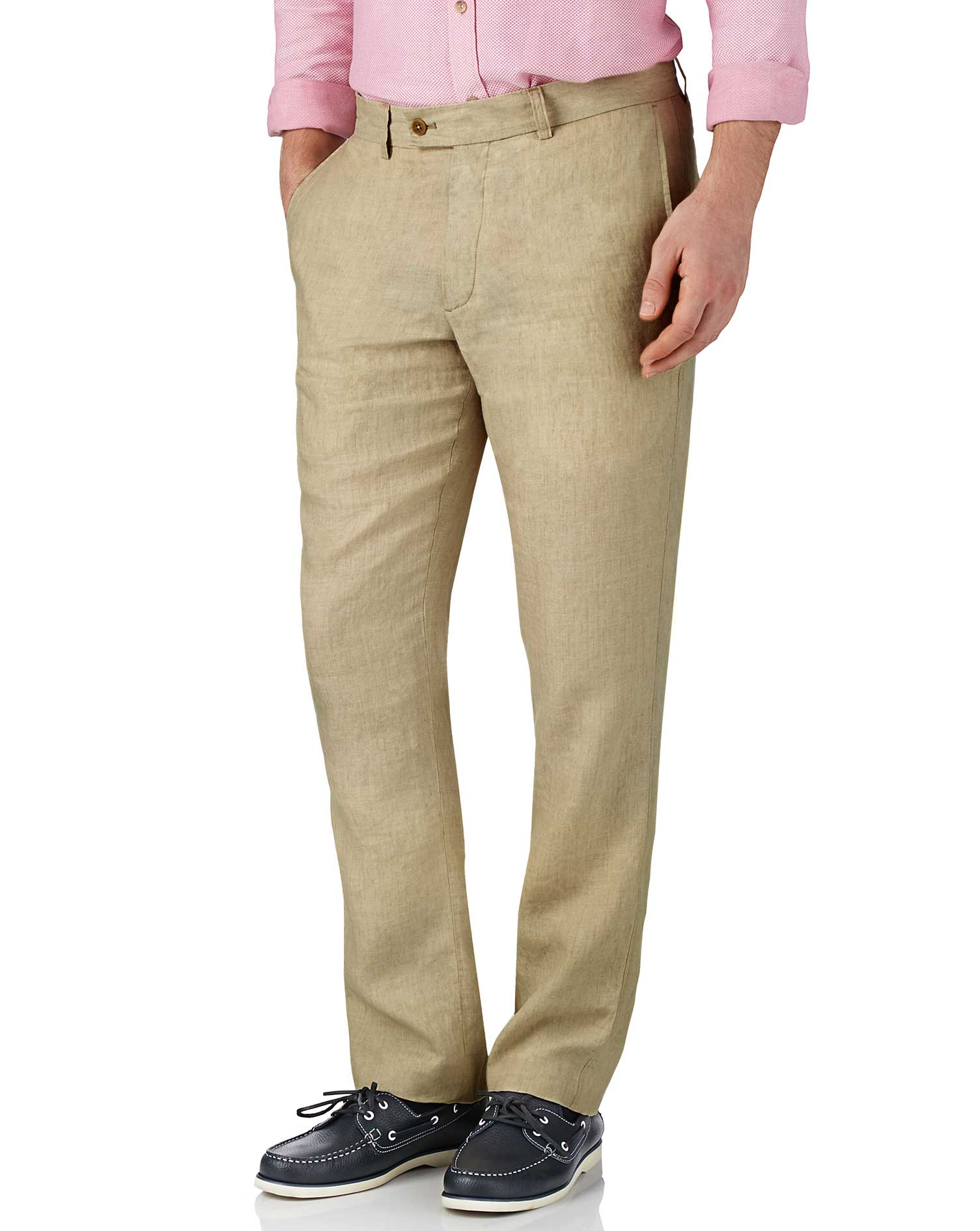 Stone Slim Fit Linen Trousers Size W32 L30 by Charles Tyrwhitt