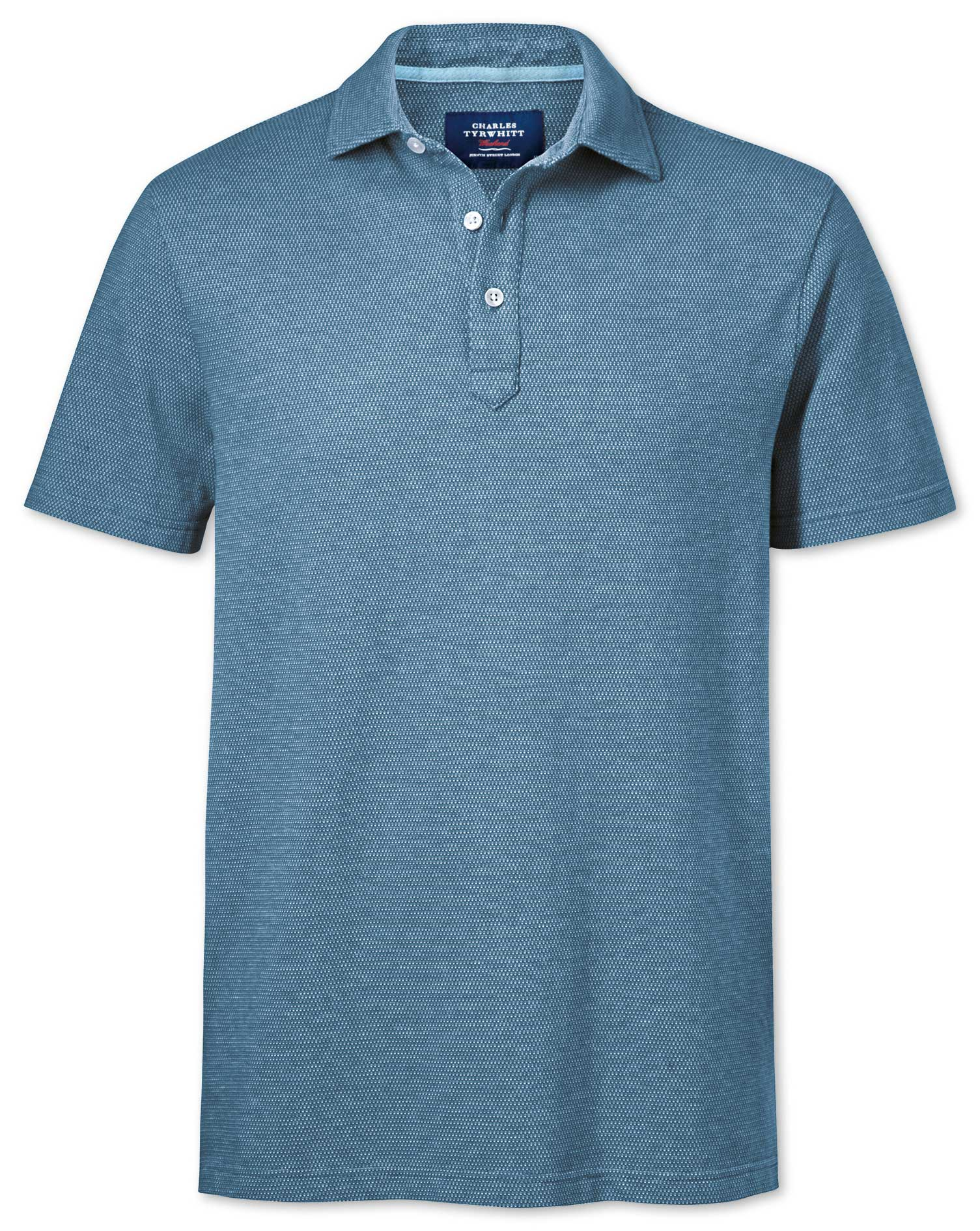 Blue and Sky Blue Birds Eye Cotton Polo Size XS by Charles Tyrwhitt