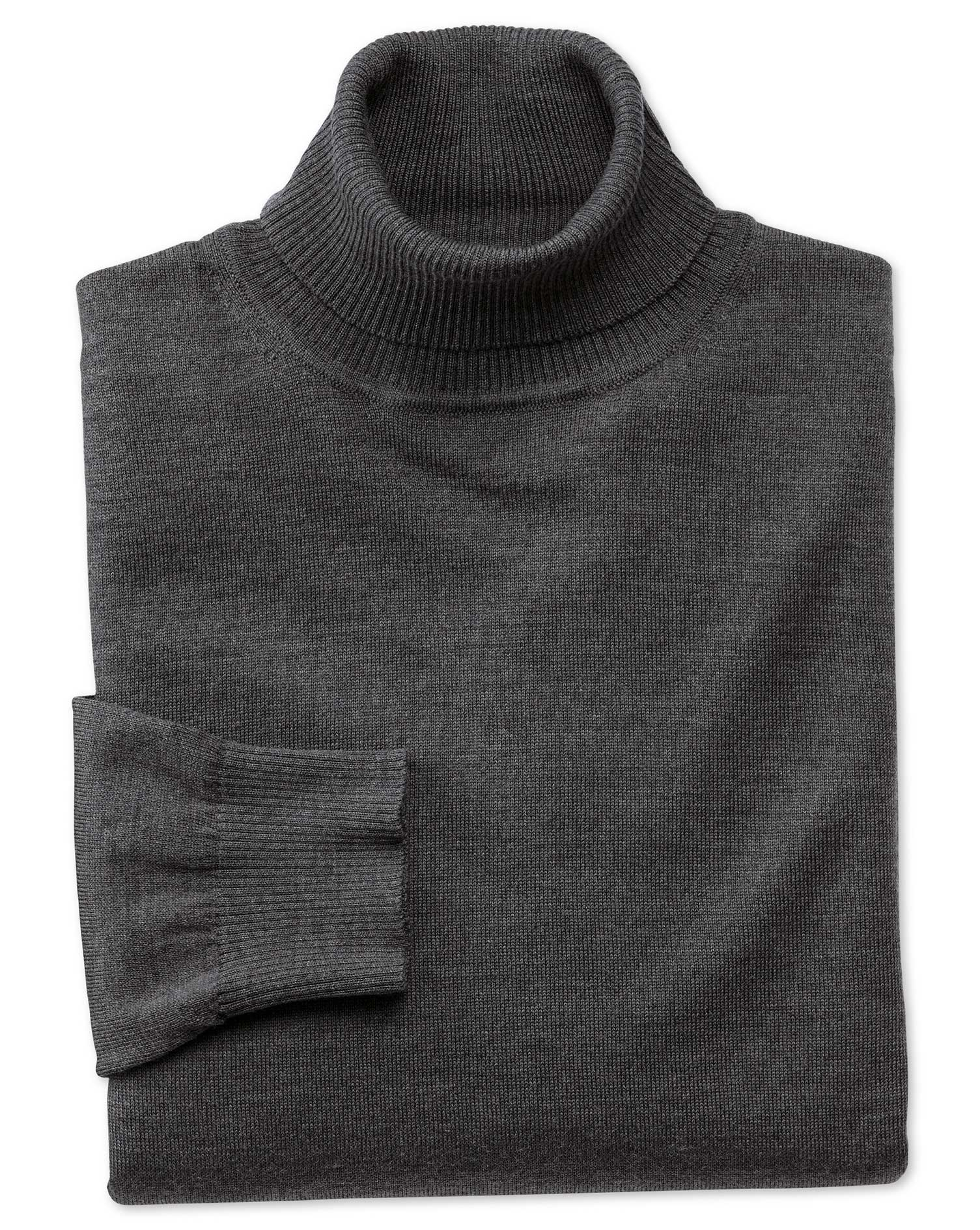 Charcoal Merino Wool Roll Neck Jumper Size XL by Charles Tyrwhitt