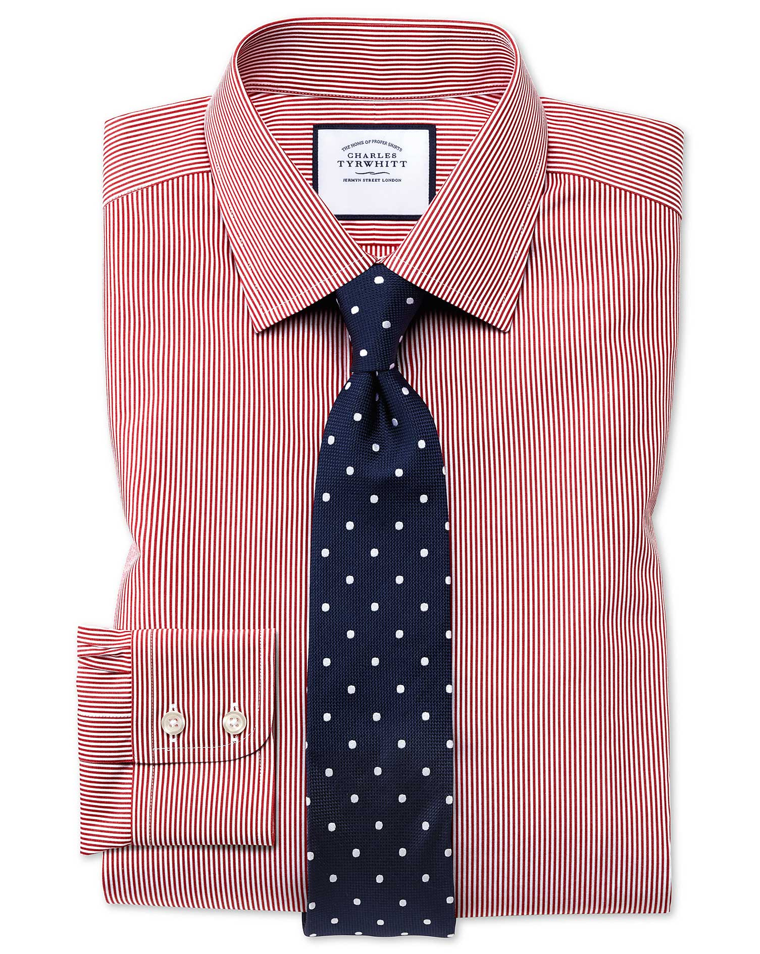 Classic Fit Non-Iron Bengal Stripe Red Cotton Formal Shirt Single Cuff Size 16/34 by Charles Tyrwhit