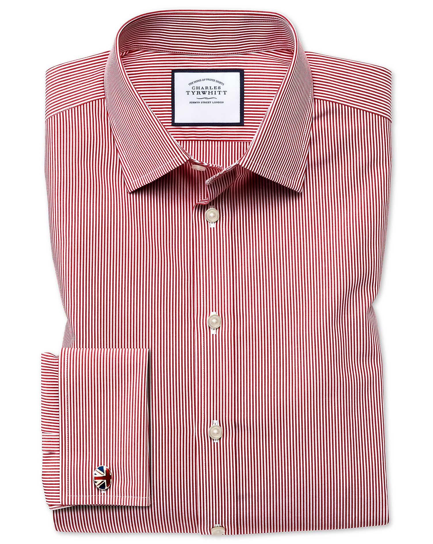 Slim Fit Non-Iron Bengal Stripe Red Cotton Formal Shirt Double Cuff Size 18/37 by Charles Tyrwhitt