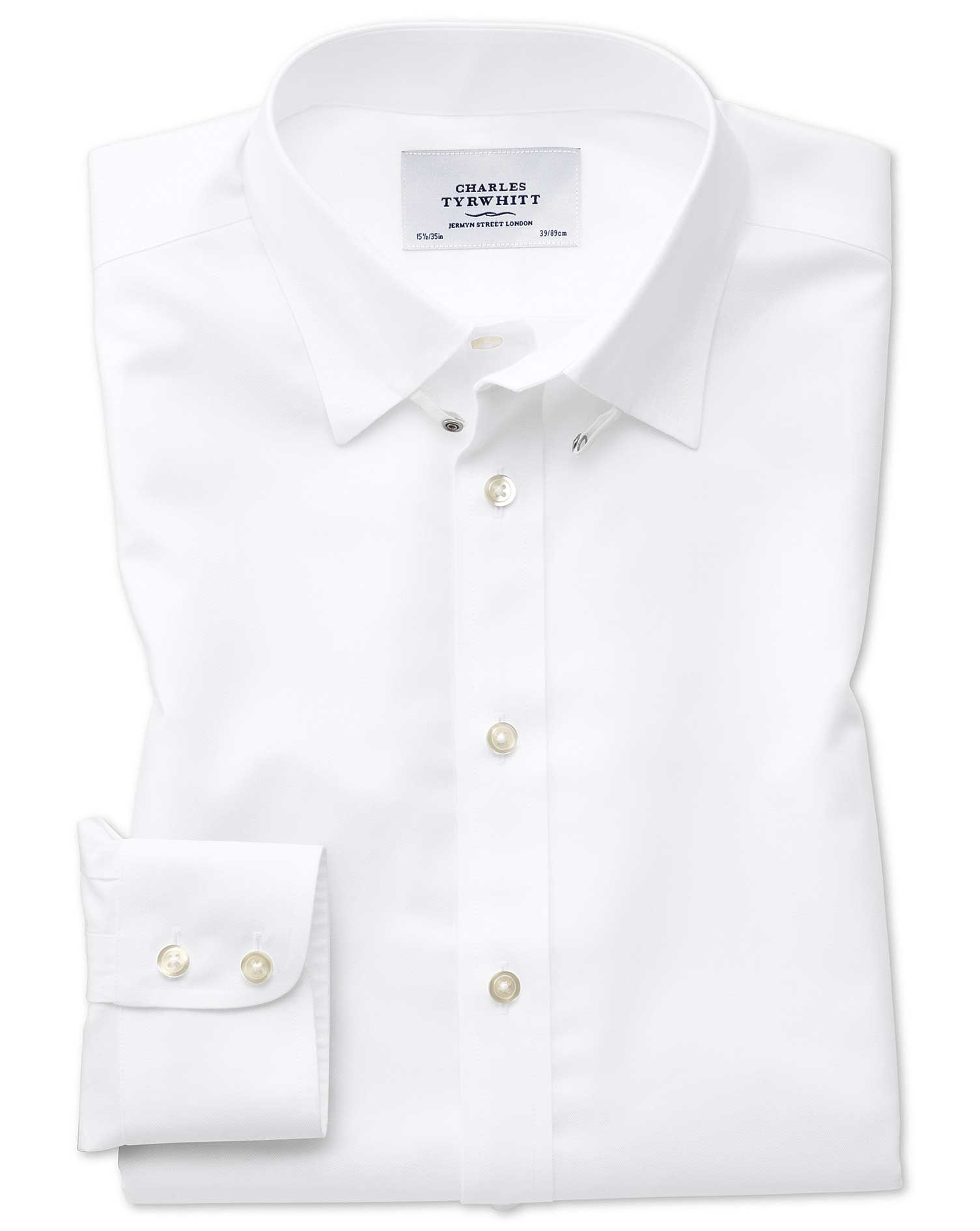 Slim Fit Tab Collar Non-Iron Twill White Cotton Formal Shirt Single Cuff Size 15/34 by Charles Tyrwh