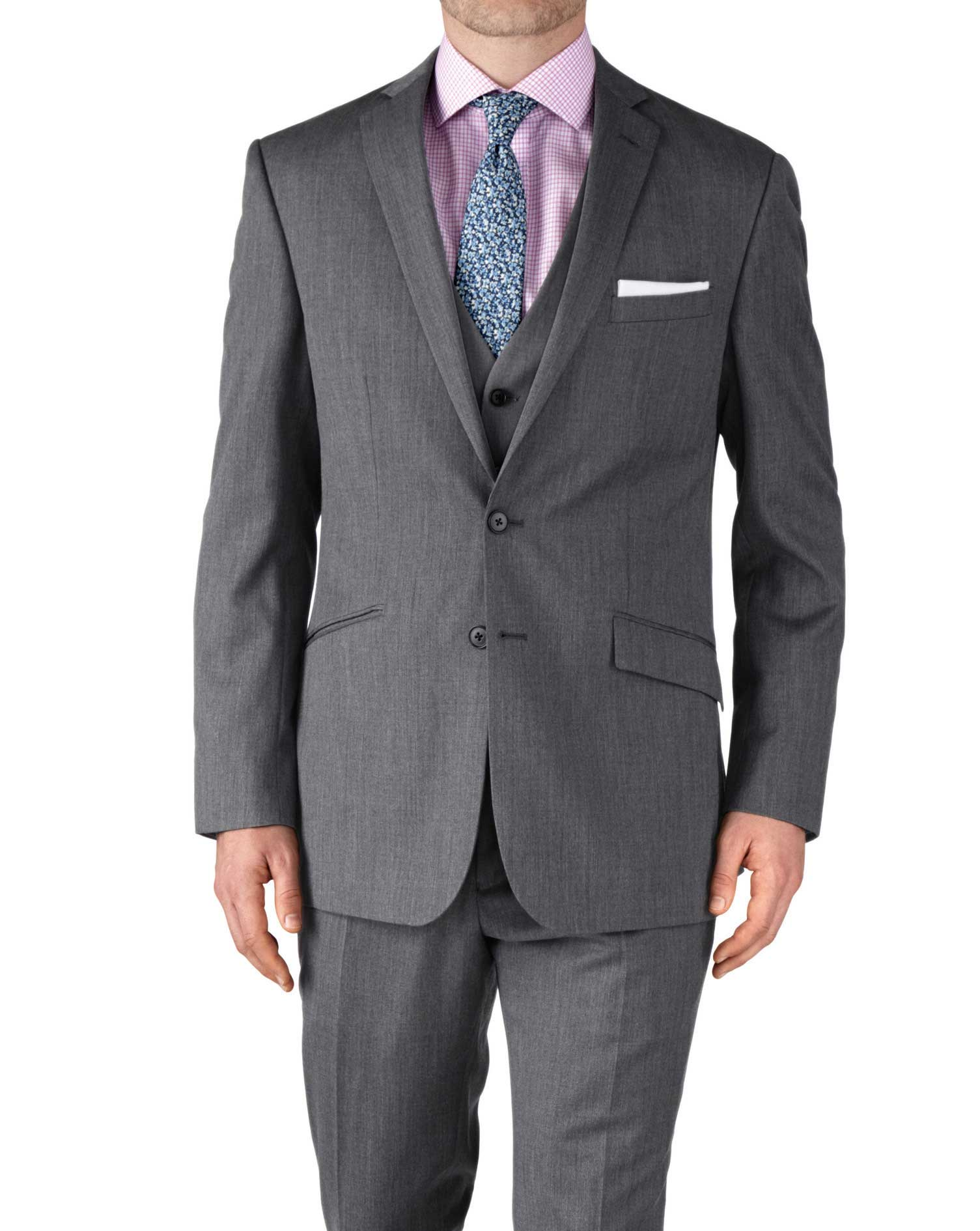 Silver Slim Fit Twill Business Suit Wool Jacket Size 40 Regular by Charles Tyrwhitt