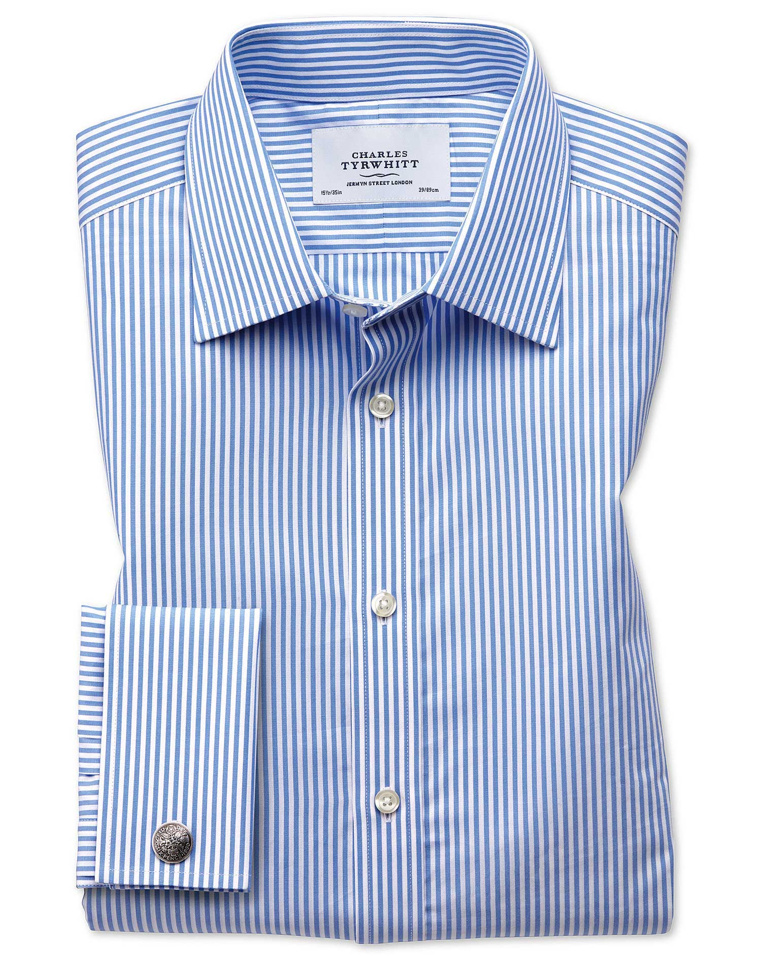 Extra Slim Fit Bengal Stripe Sky Blue Cotton Formal Shirt Double Cuff Size 17.5/36 by Charles Tyrwhi